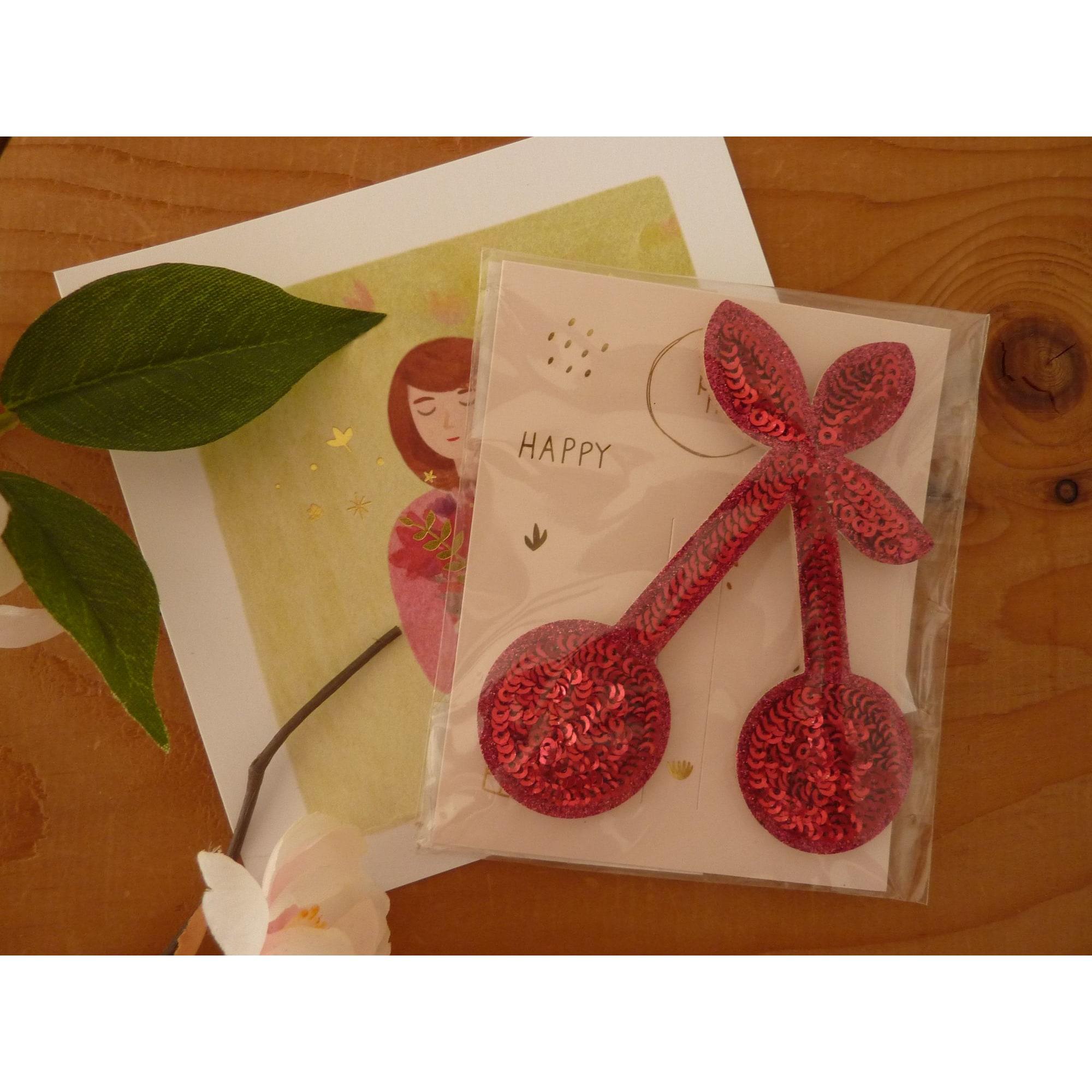 Broche DES PETITS HAUTS feutrine et paillettes rose