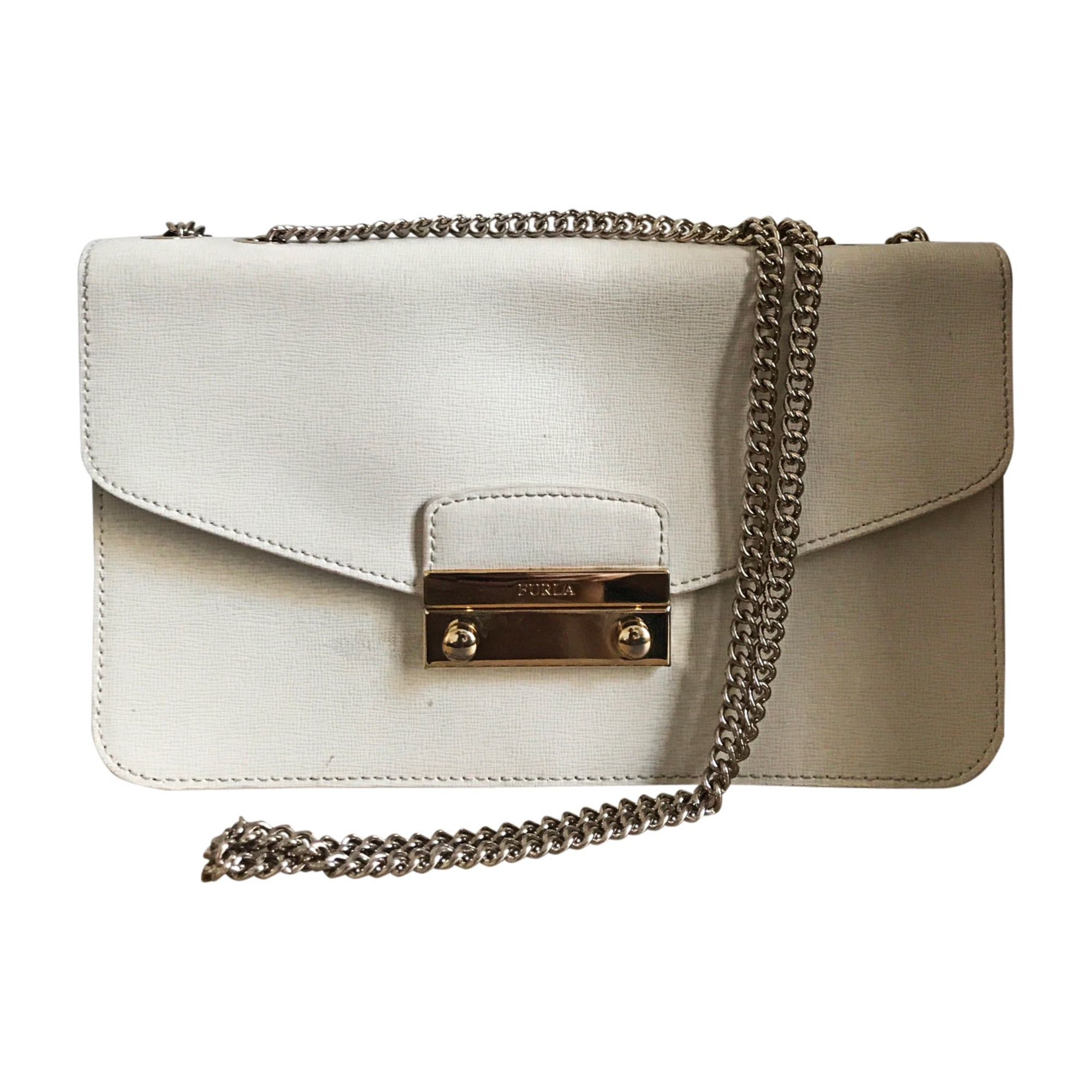 Leather Clutch FURLA White, off-white, ecru