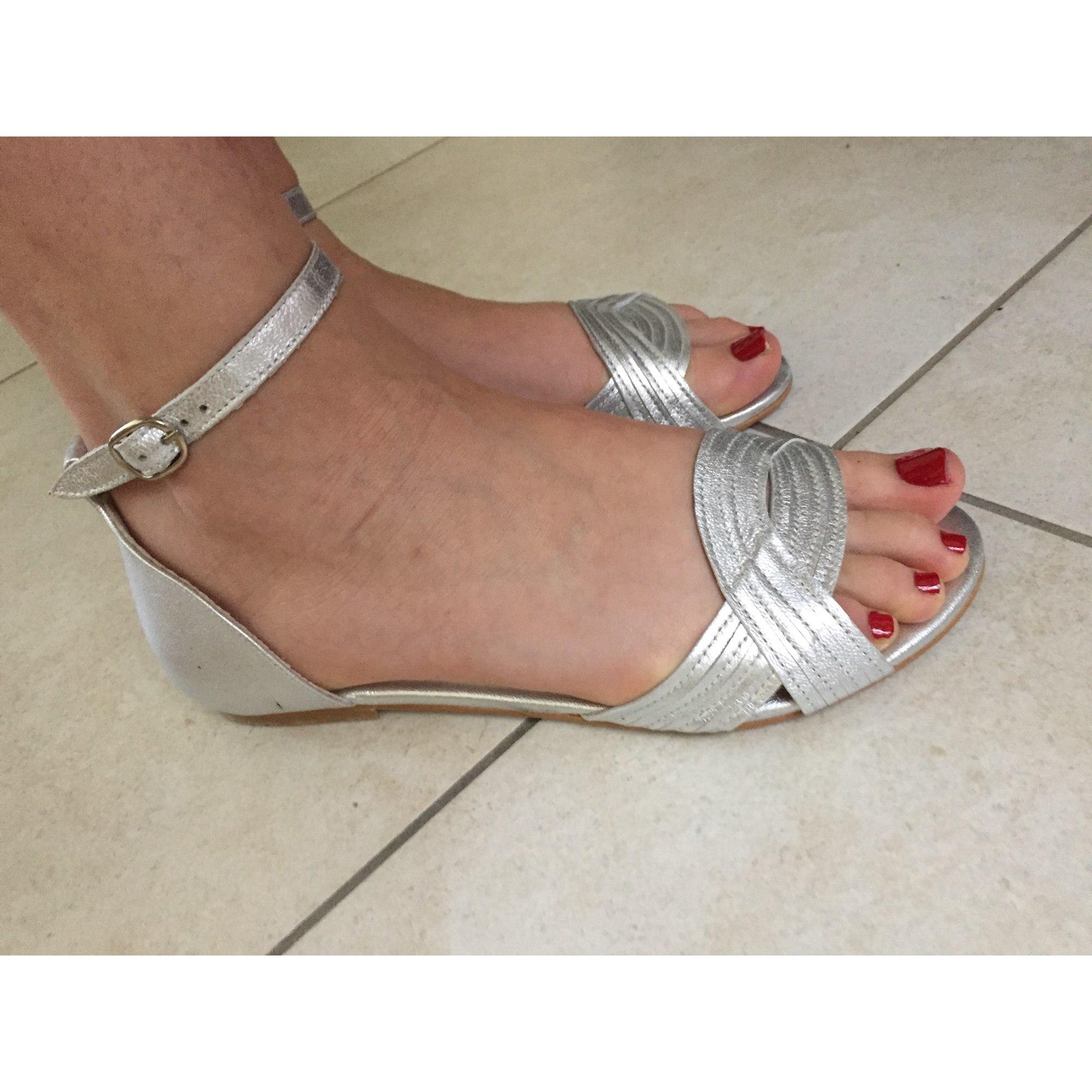 Sandales plates  JONAK Argenté, acier