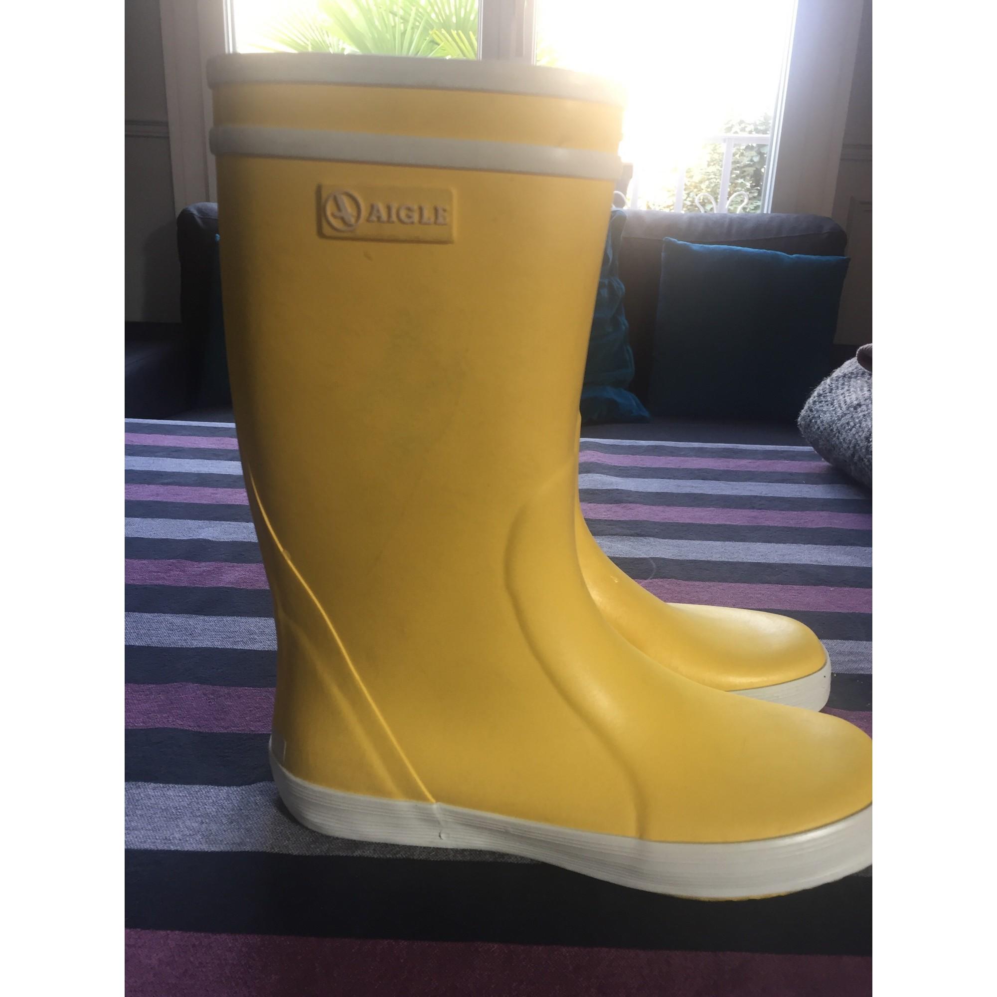 Bottes de pluie AIGLE caoutchouc jaune 34