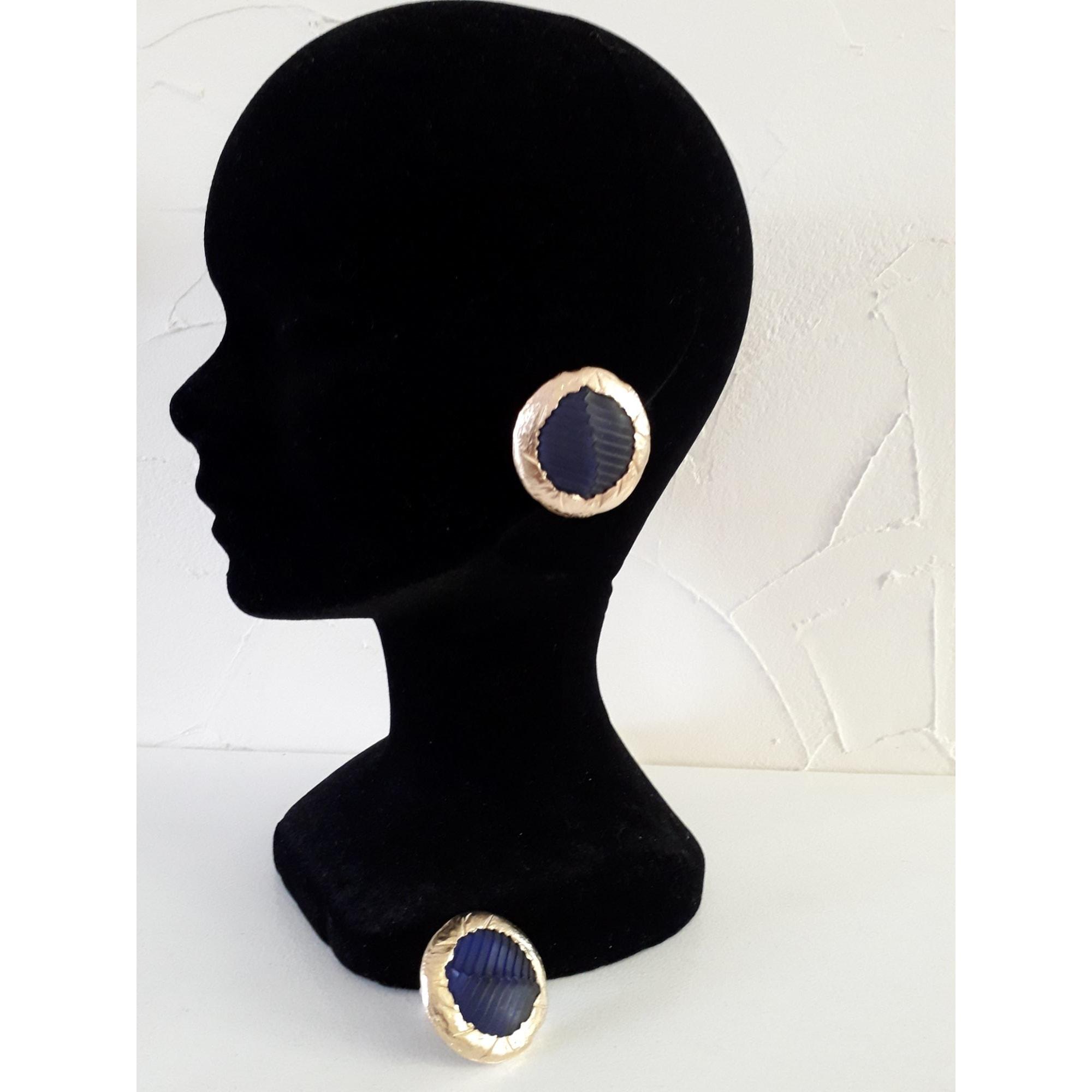 Boucles d'oreille CLAUDE MONTANA métal doré et  pierre /resine bleu autre