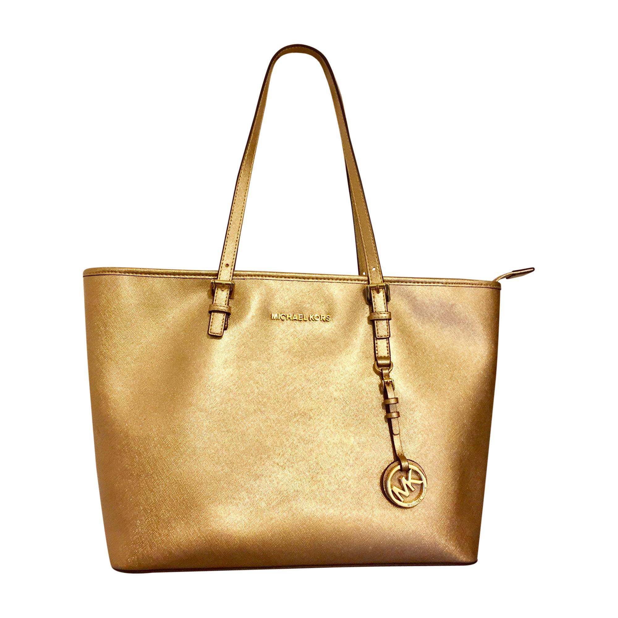 Leather Handbag MICHAEL KORS Golden, bronze, copper