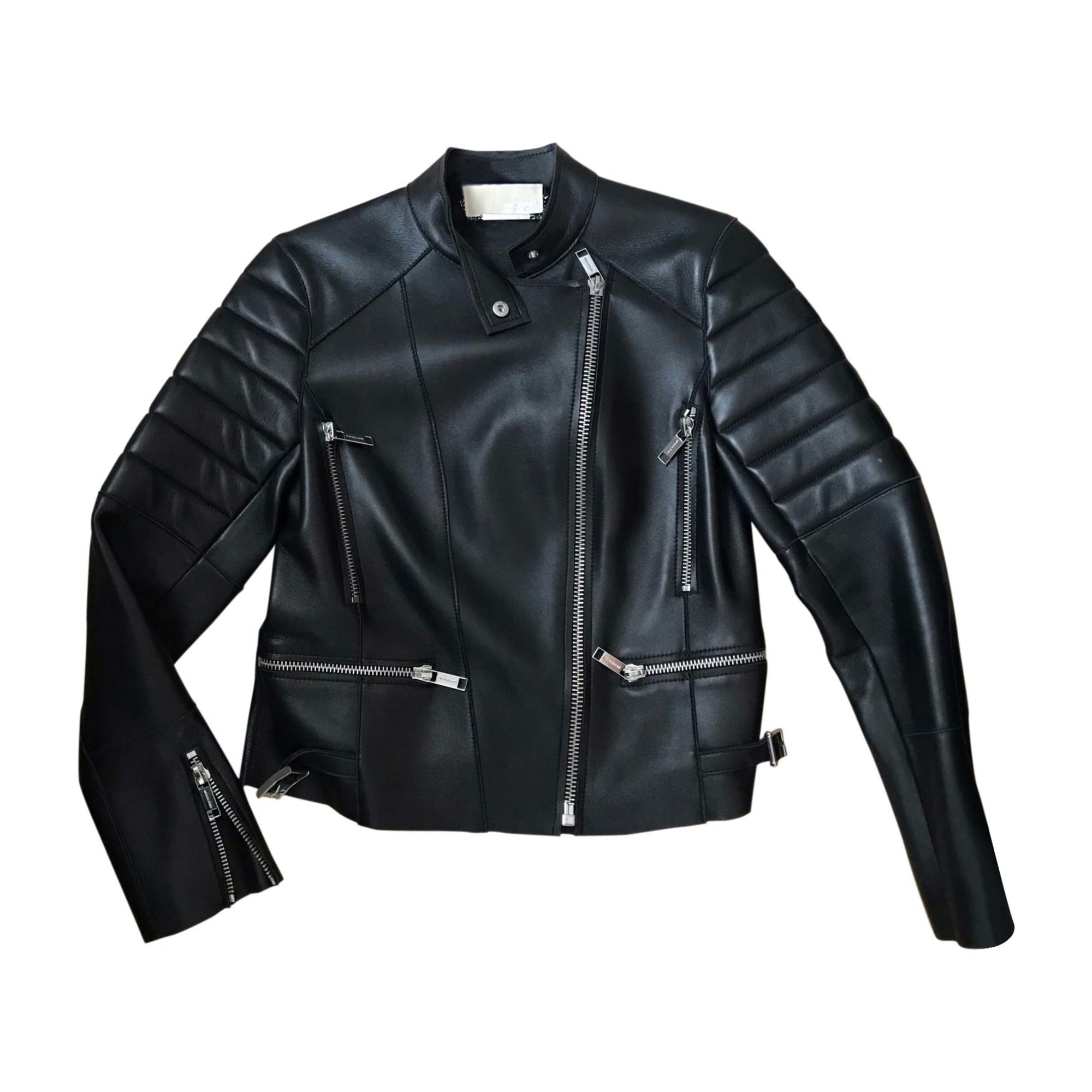 Leather Zipped Jacket MICHAEL KORS Black