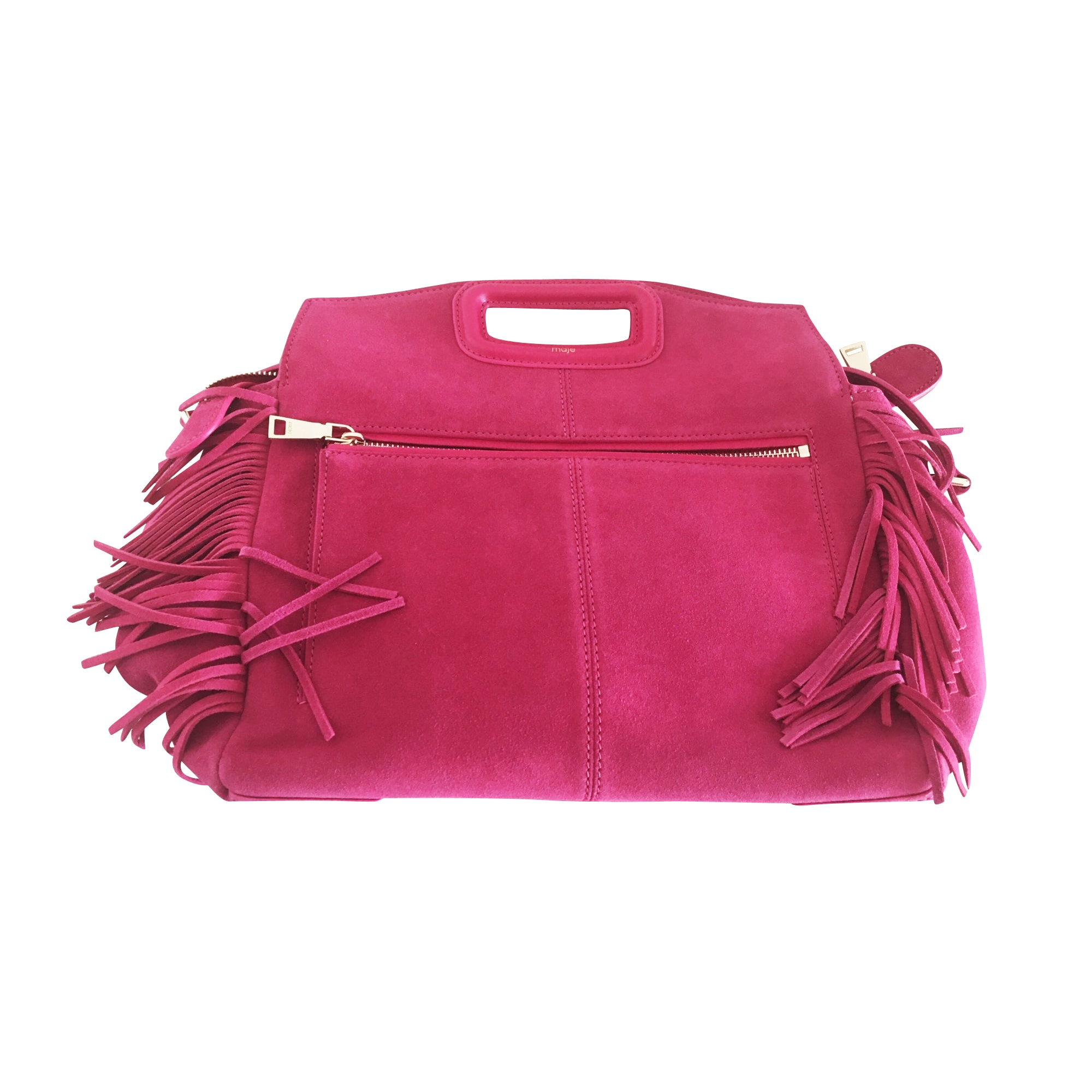 Leather Handbag MAJE Pink, fuchsia, light pink