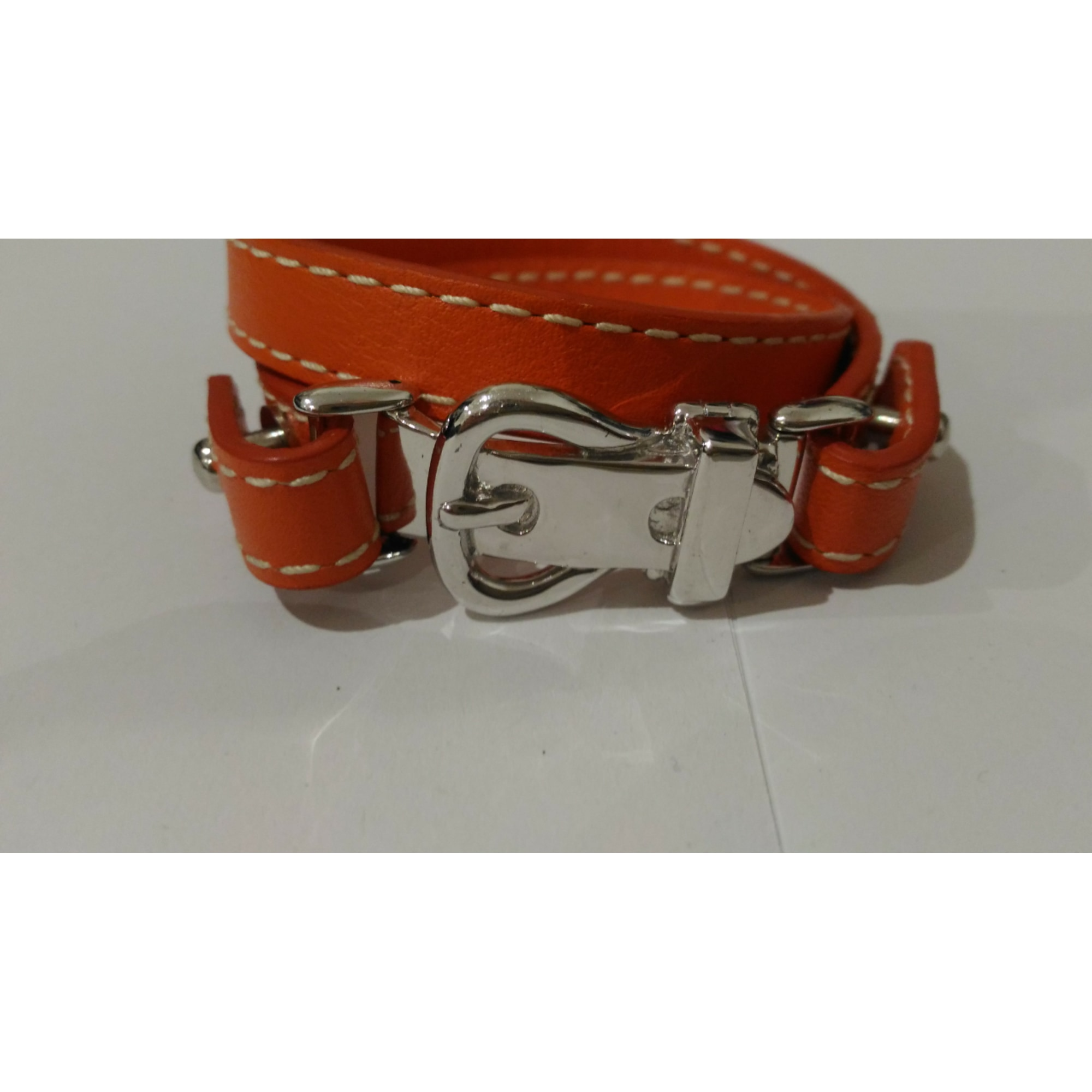 Bracelet GUIOT DE BOURG cuir orange