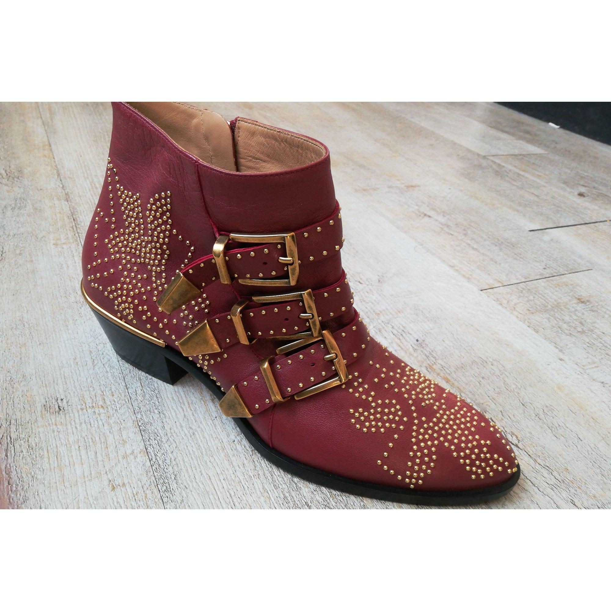 Santiags, bottines, low boots cowboy CHLOÉ Susanna Rouge, bordeaux