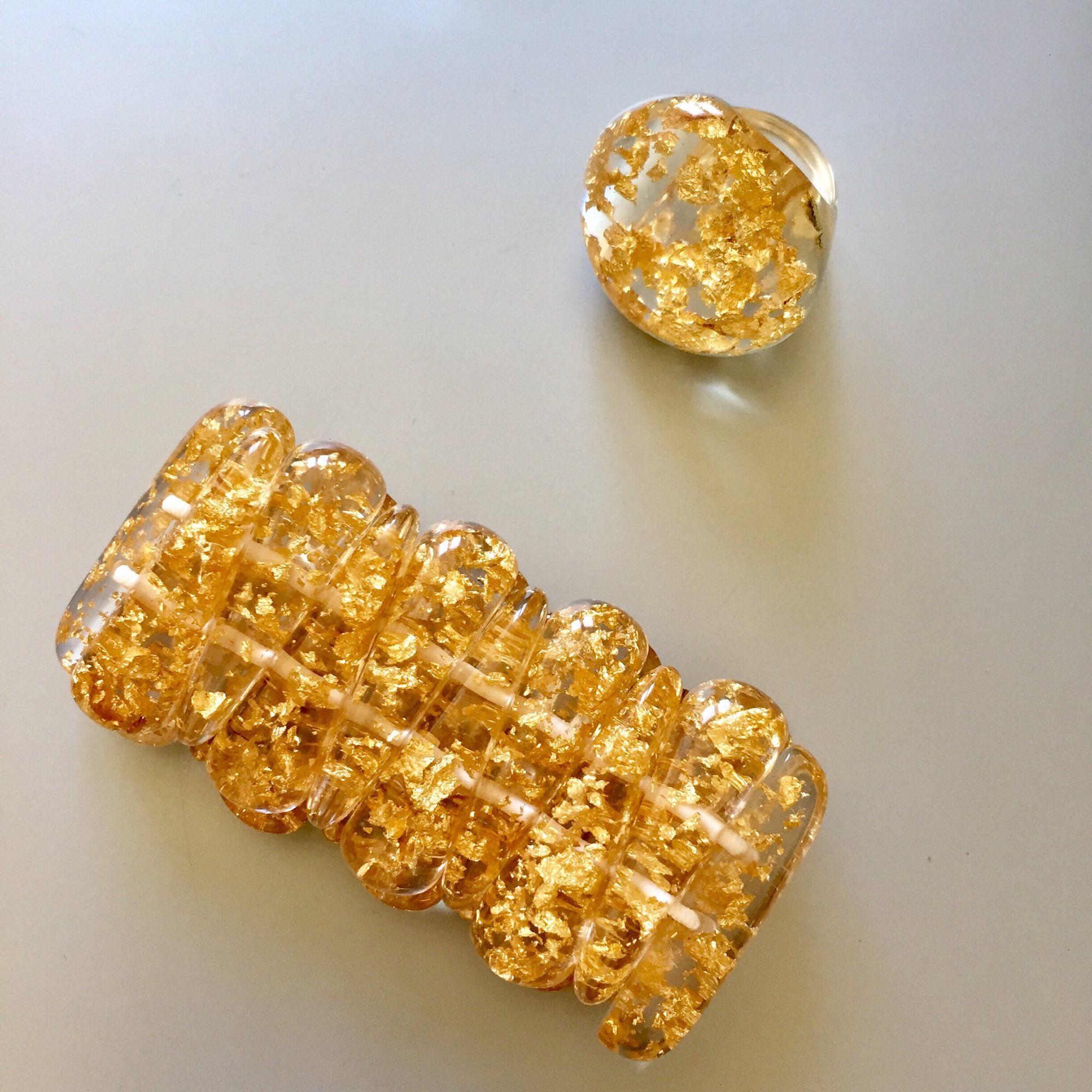 Parure bijoux SOBRAL résine doré