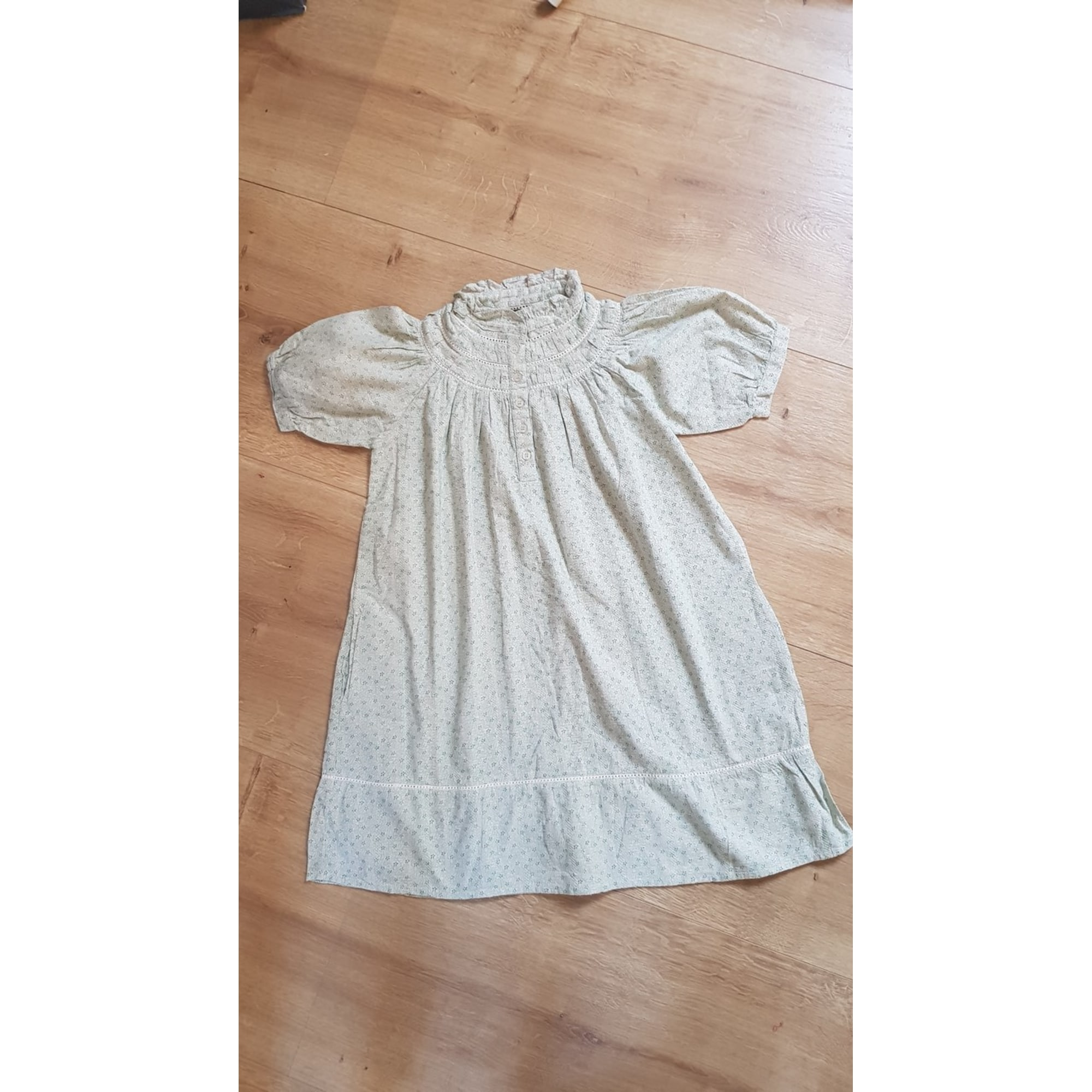 Robe NELL BY S.J. coton vert 9-10 ans