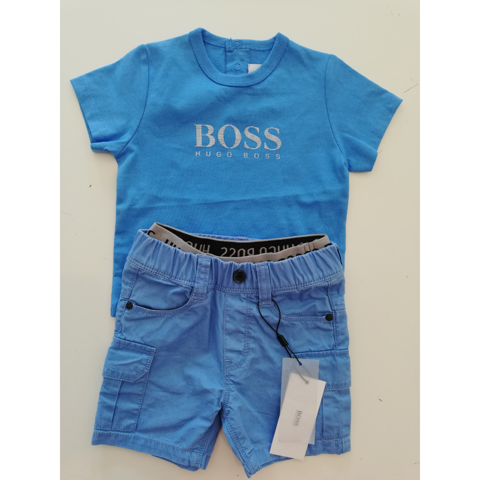 9401d2d9a39e5 Ensemble   Combinaison short HUGO BOSS coton bleu 6 mois