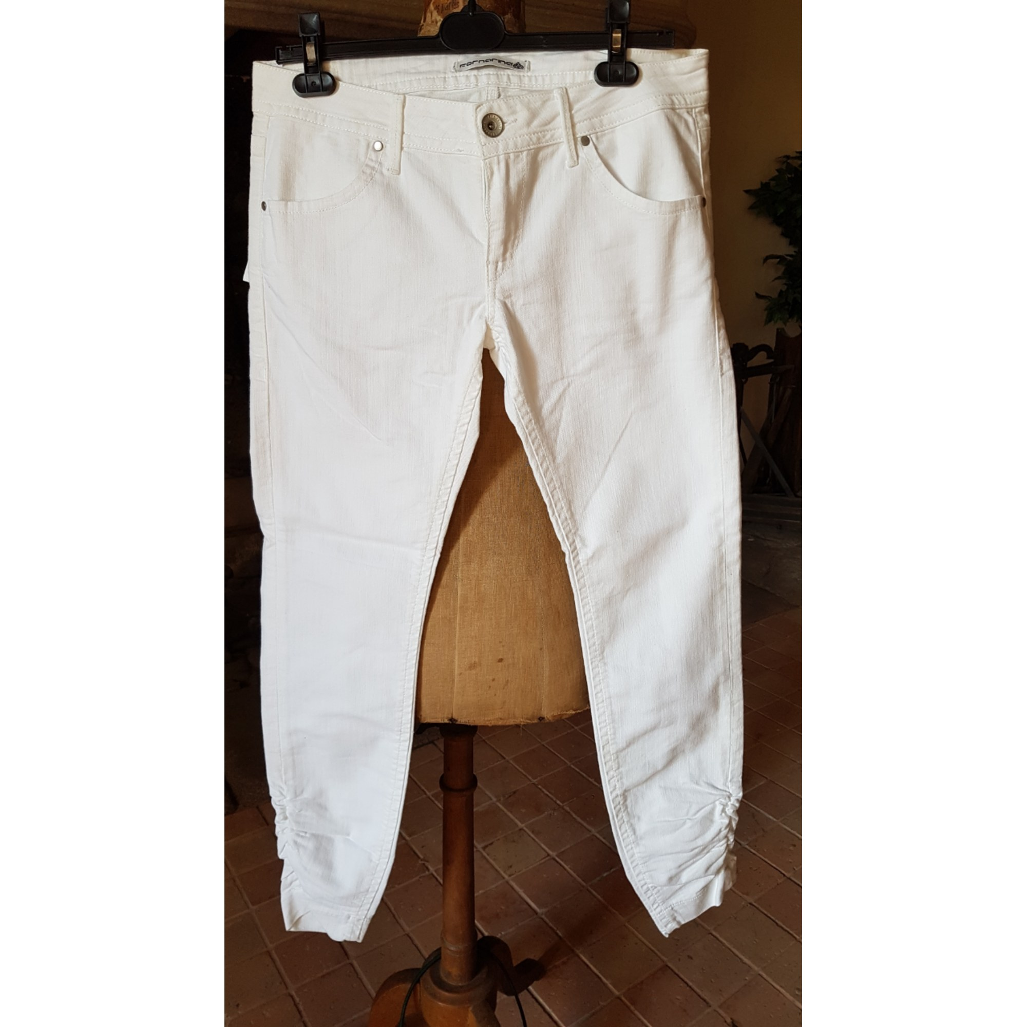 Jeans slim FORNARINA Blanc, blanc cassé, écru