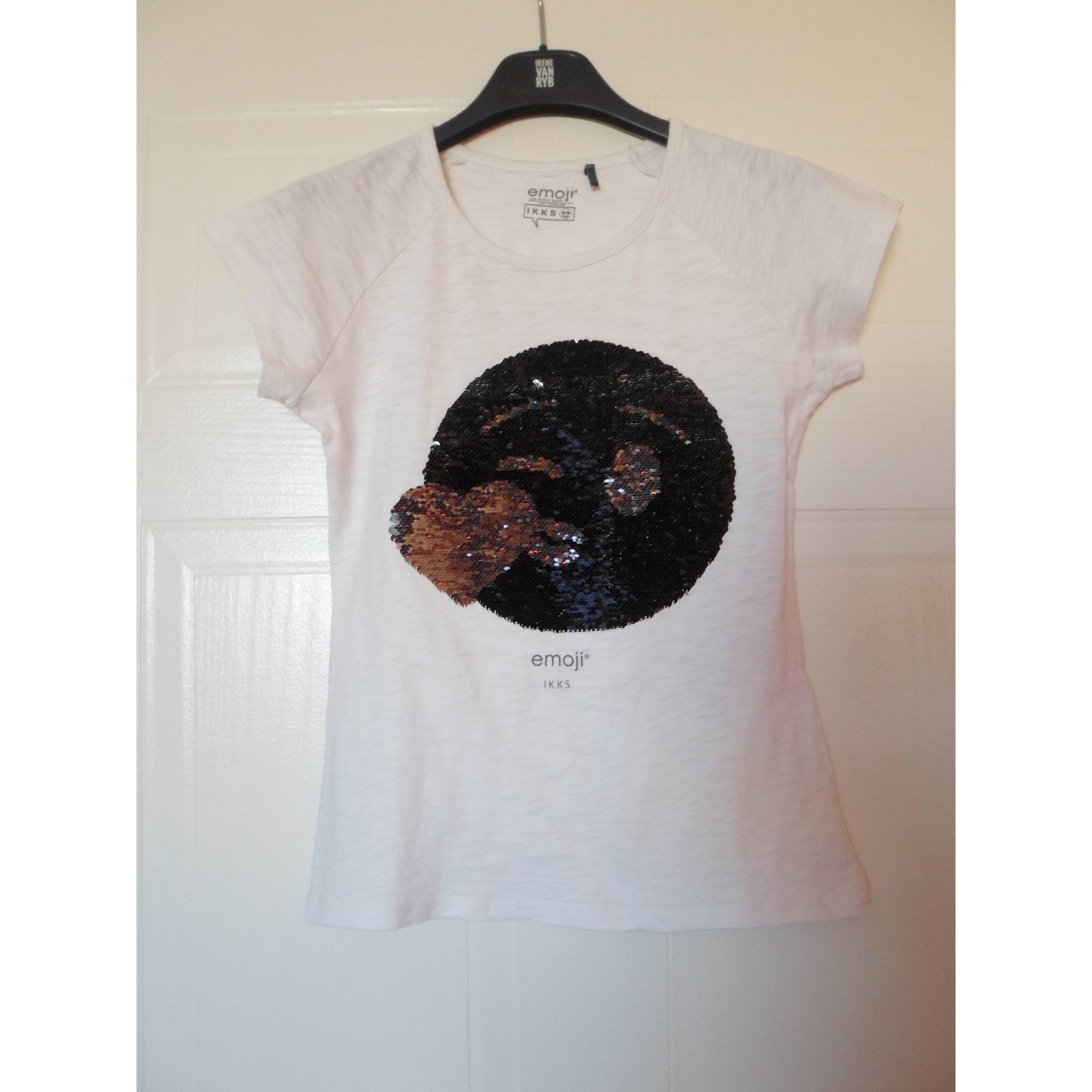 Top, Tee-shirt TSHIRT MC ÉCRU EMOJI - IKKS - 12 ANS coton blanc 11-12 ans