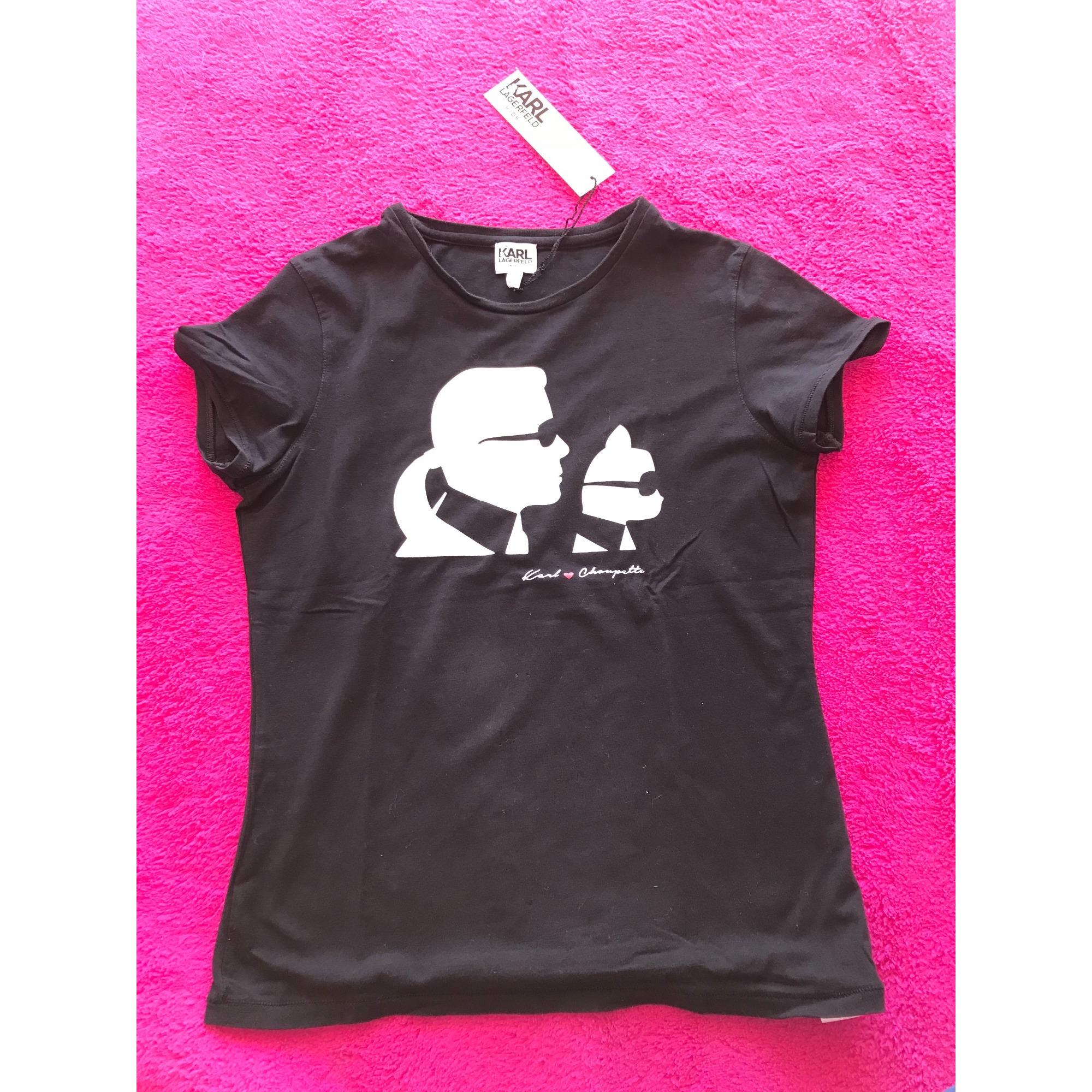 Top, Tee-shirt KARL LAGERFELD coton noir 15-16 ans
