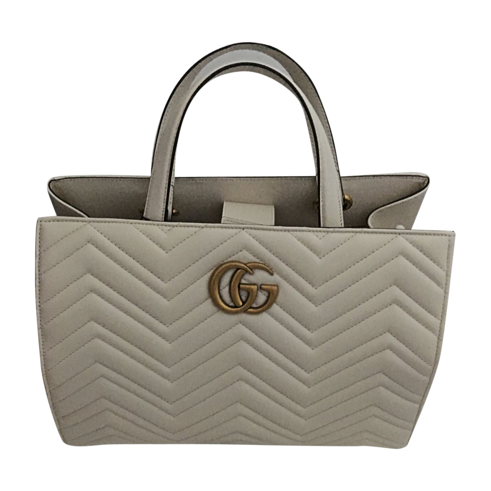 Leather Handbag GUCCI Marmont White, off-white, ecru