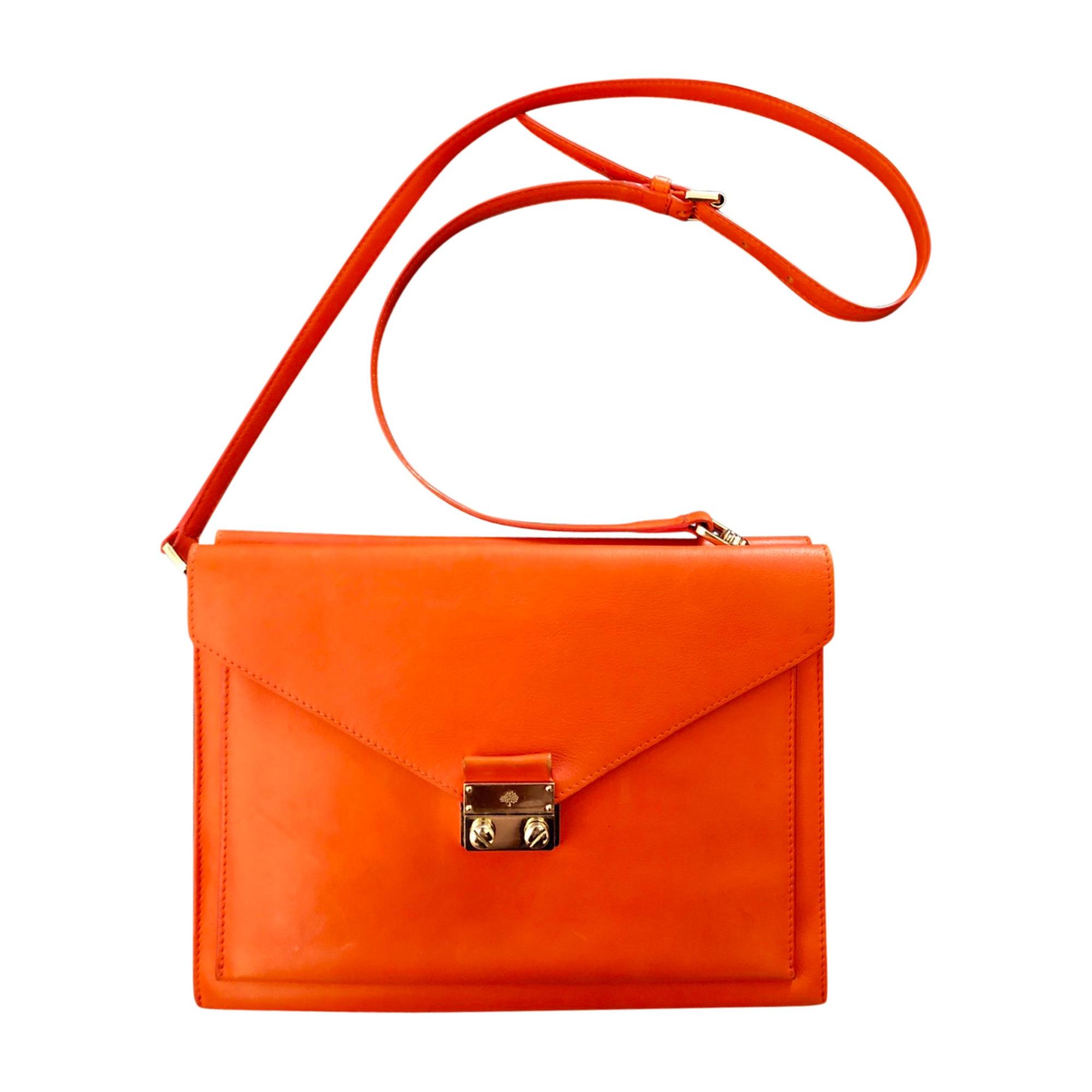 Sac pochette en cuir MULBERRY cuir orange