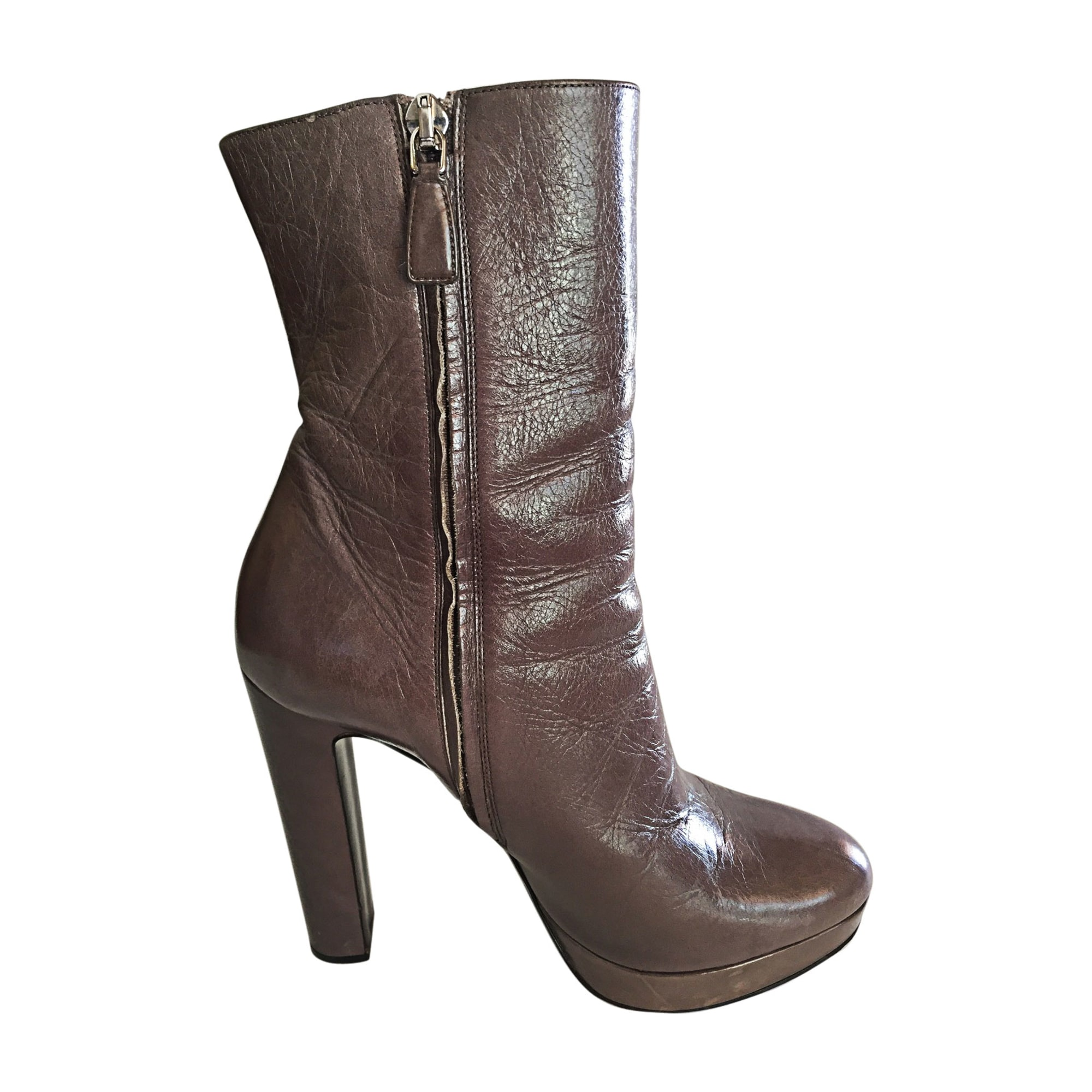 Bottines & low boots à talons PRADA Gris, anthracite