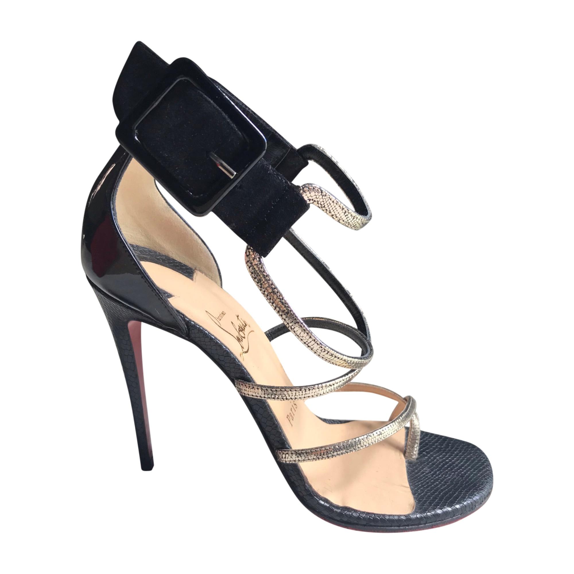 Sandales à talons CHRISTIAN LOUBOUTIN Noir et platine