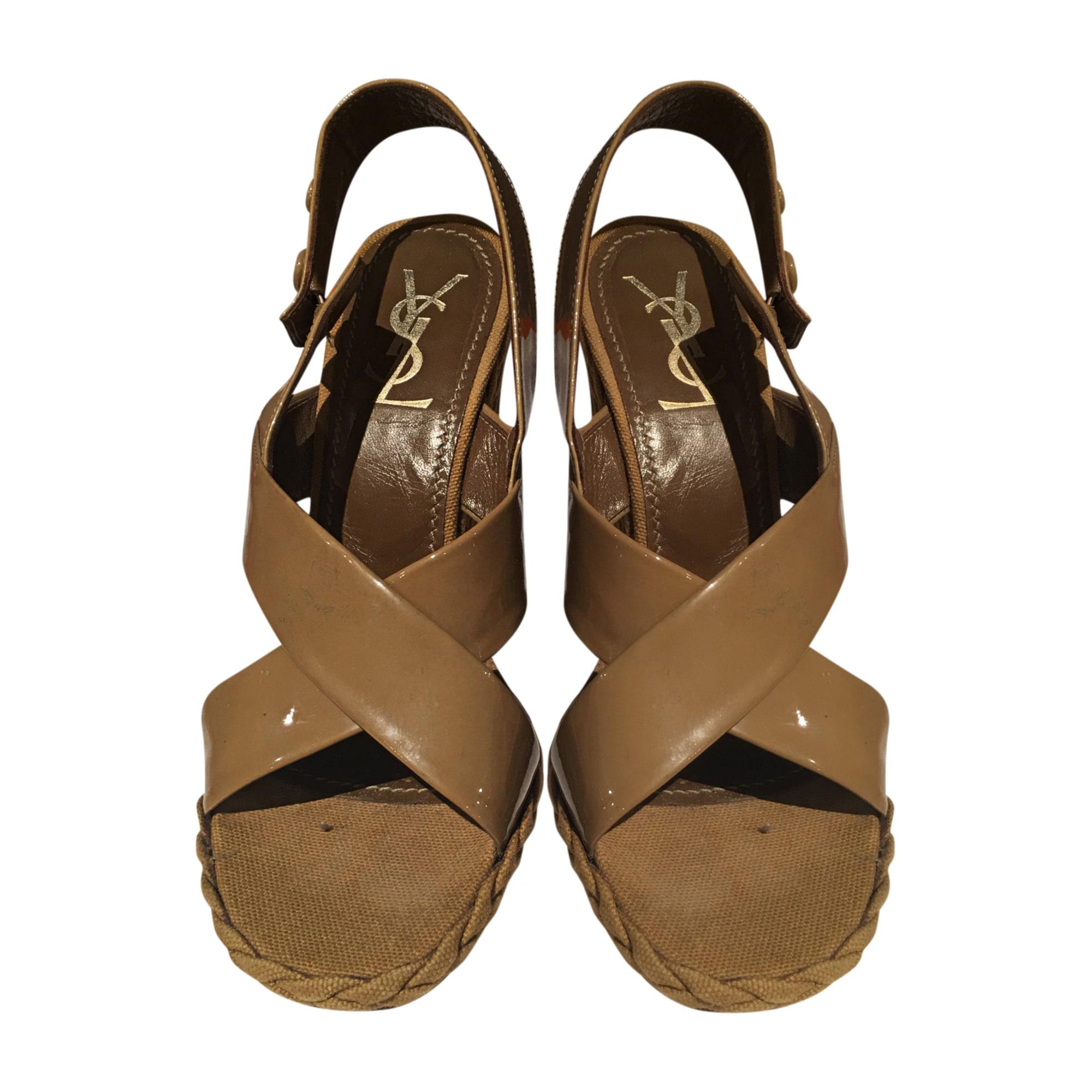 Sandales compensées SAINT LAURENT Beige, camel