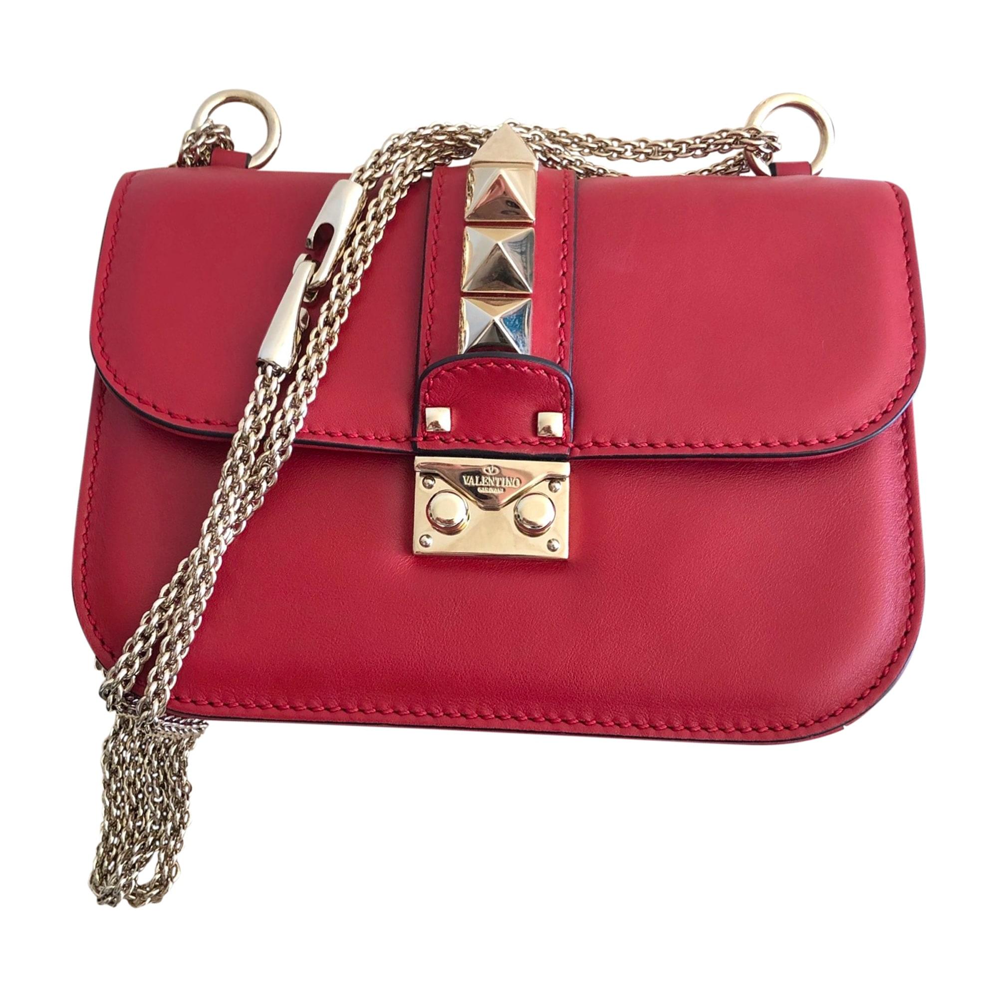 Leather Shoulder Bag VALENTINO Glam lock Red, burgundy