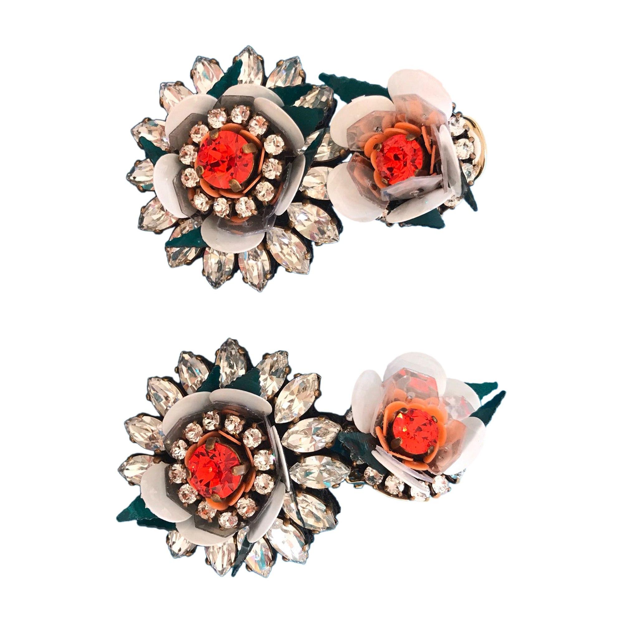 Earrings SHOUROUK Blanc, argent, orange