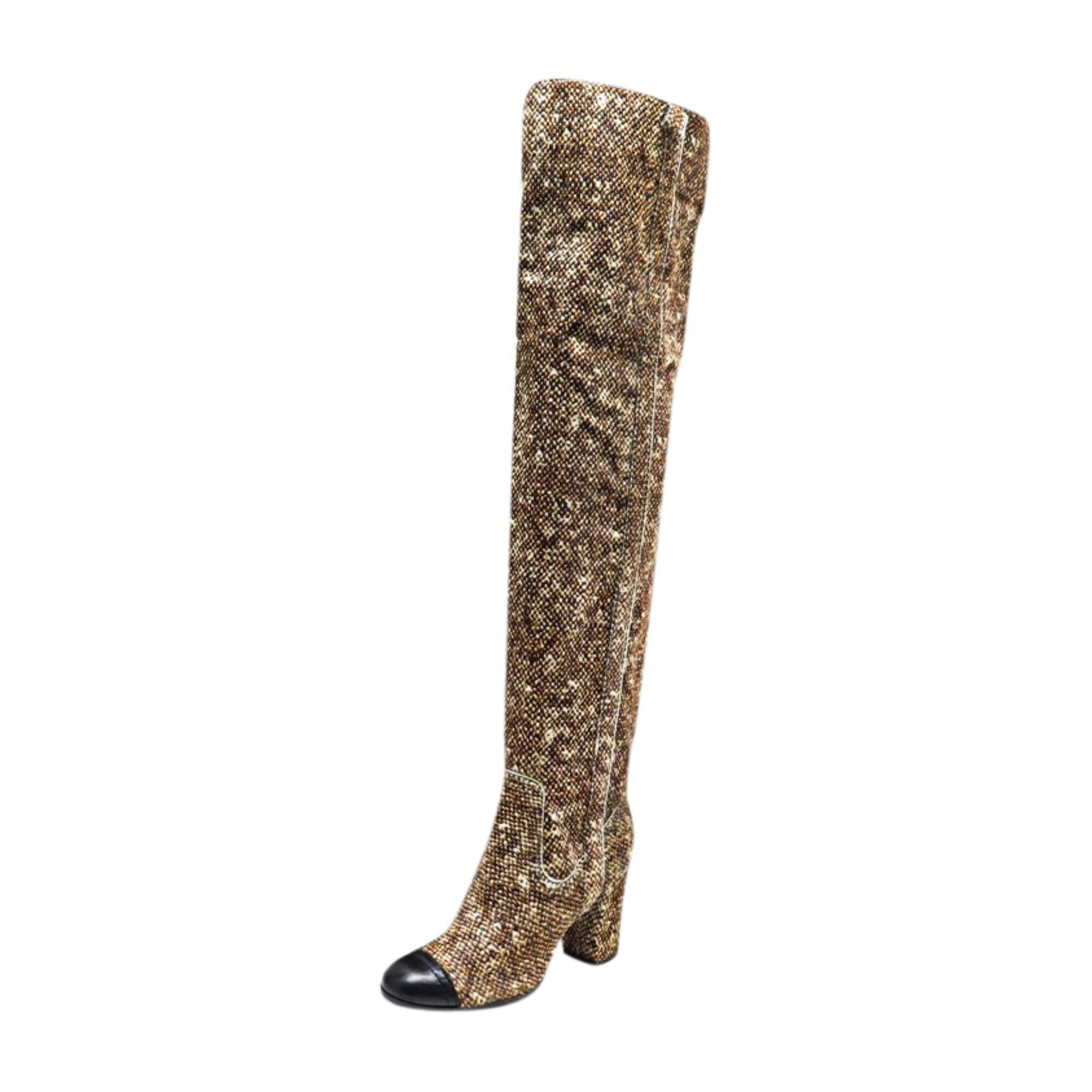 Bottes cuissards CHANEL Marron