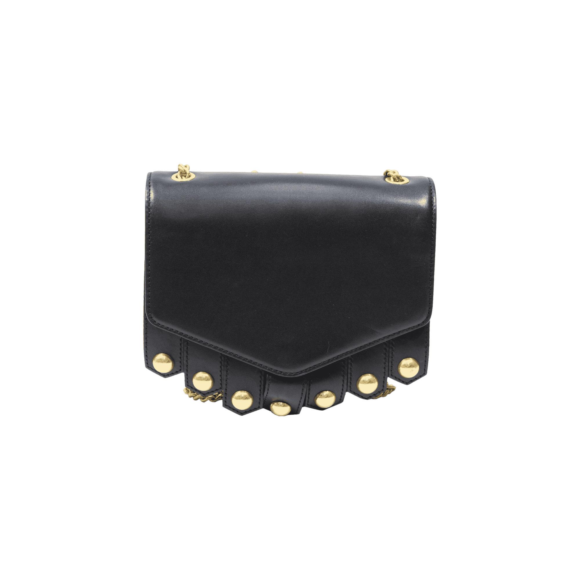 Leather Shoulder Bag SANDRO Black