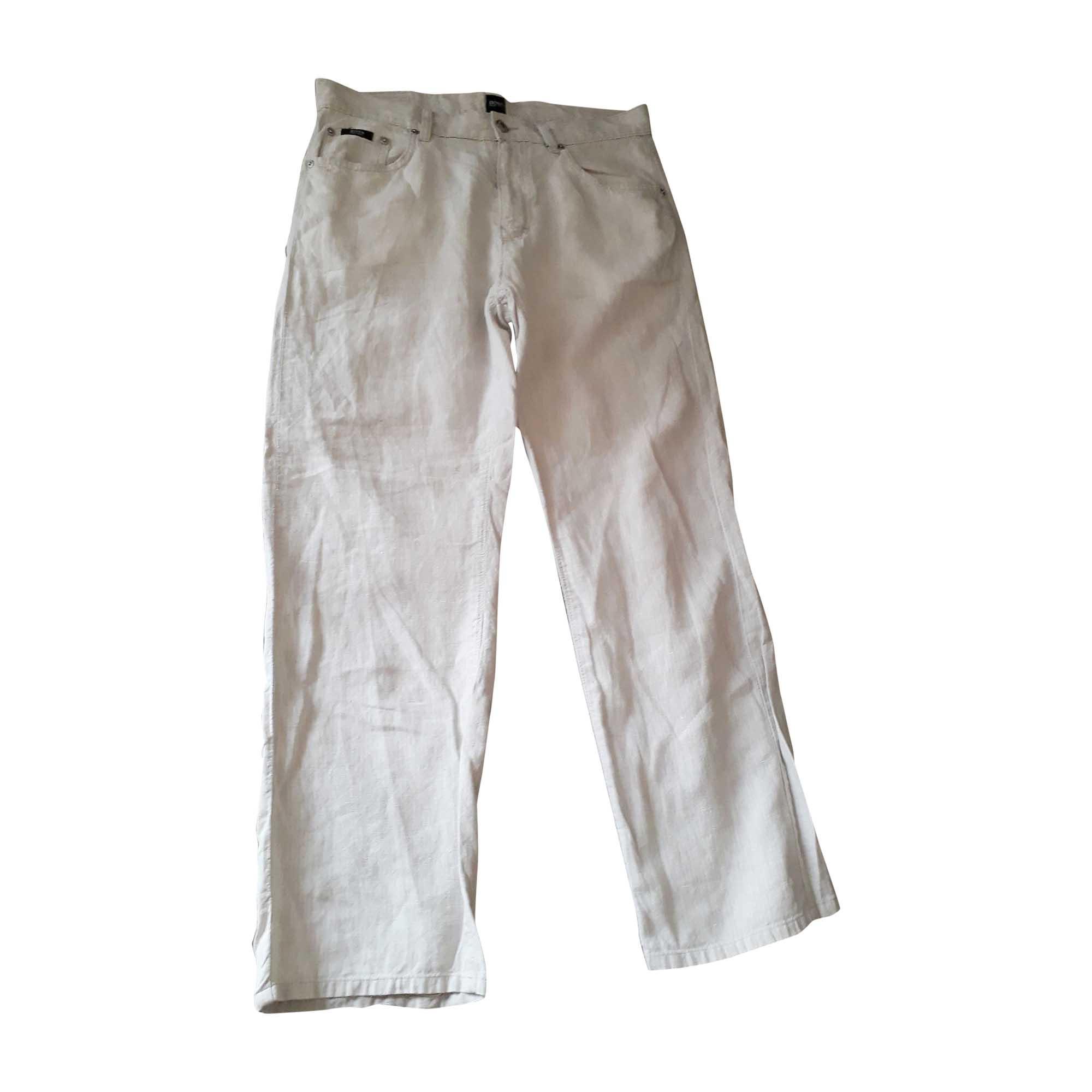Pantalon droit HUGO BOSS Blanc, blanc cassé, écru