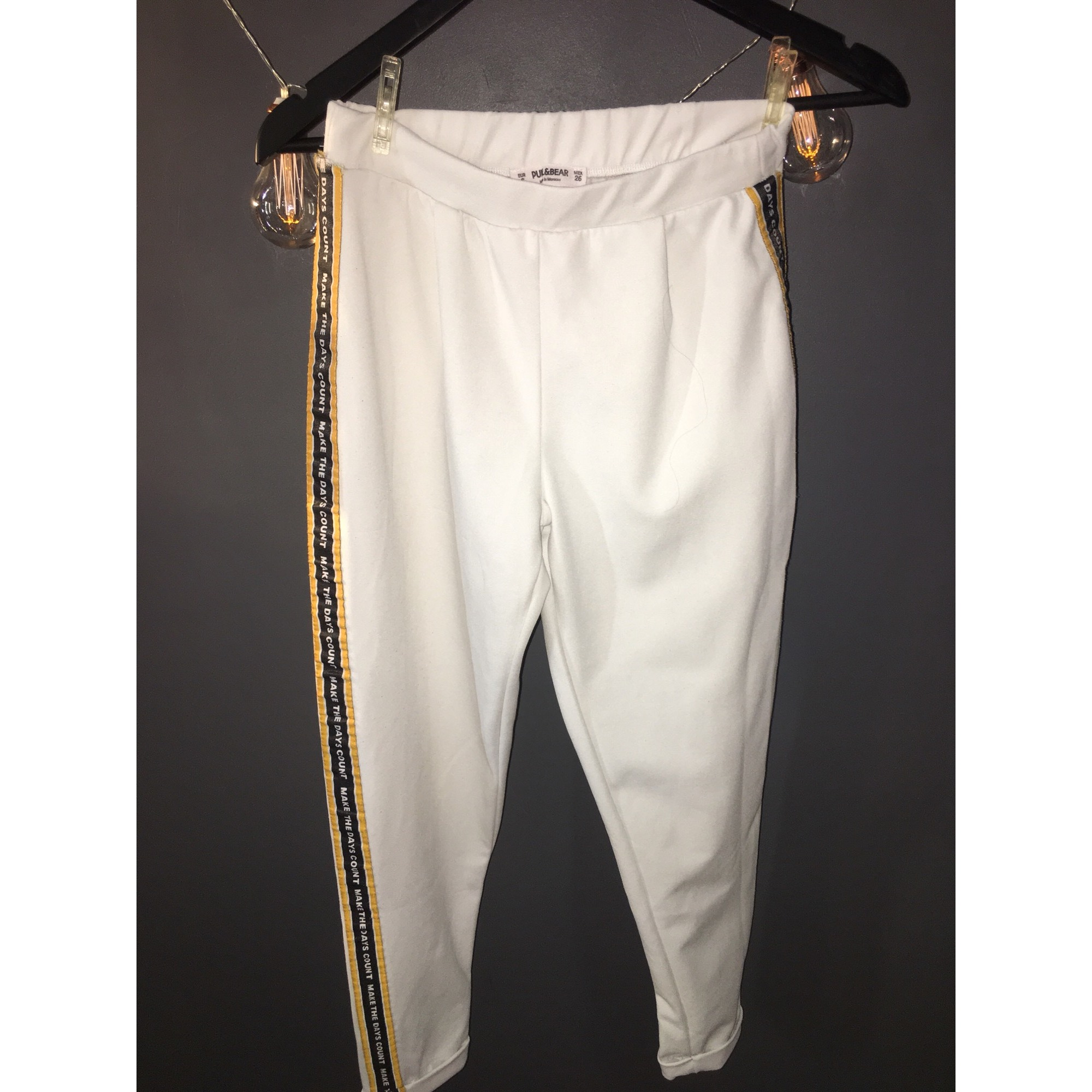 Pantalon slim, cigarette PULL & BEAR Blanc, blanc cassé, écru