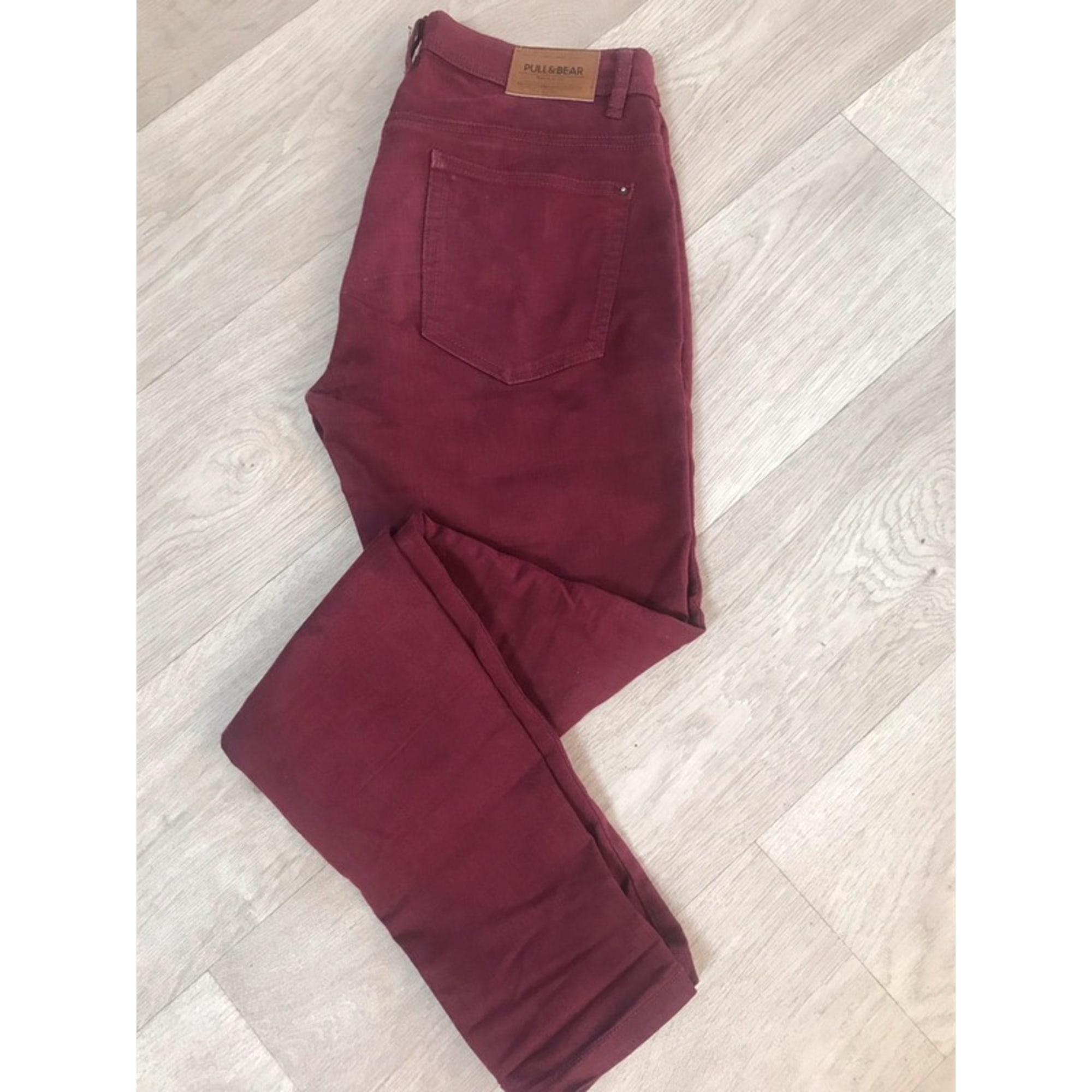 Pantalon slim, cigarette PULL & BEAR Rouge, bordeaux