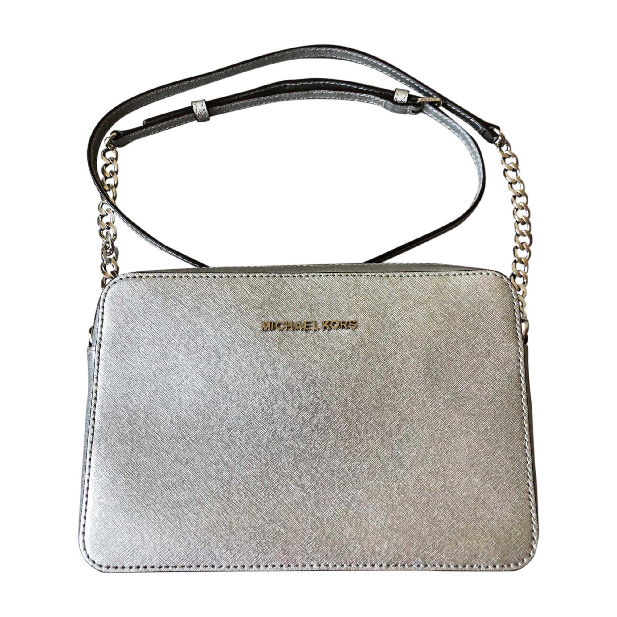 Leather Shoulder Bag MICHAEL KORS Silver