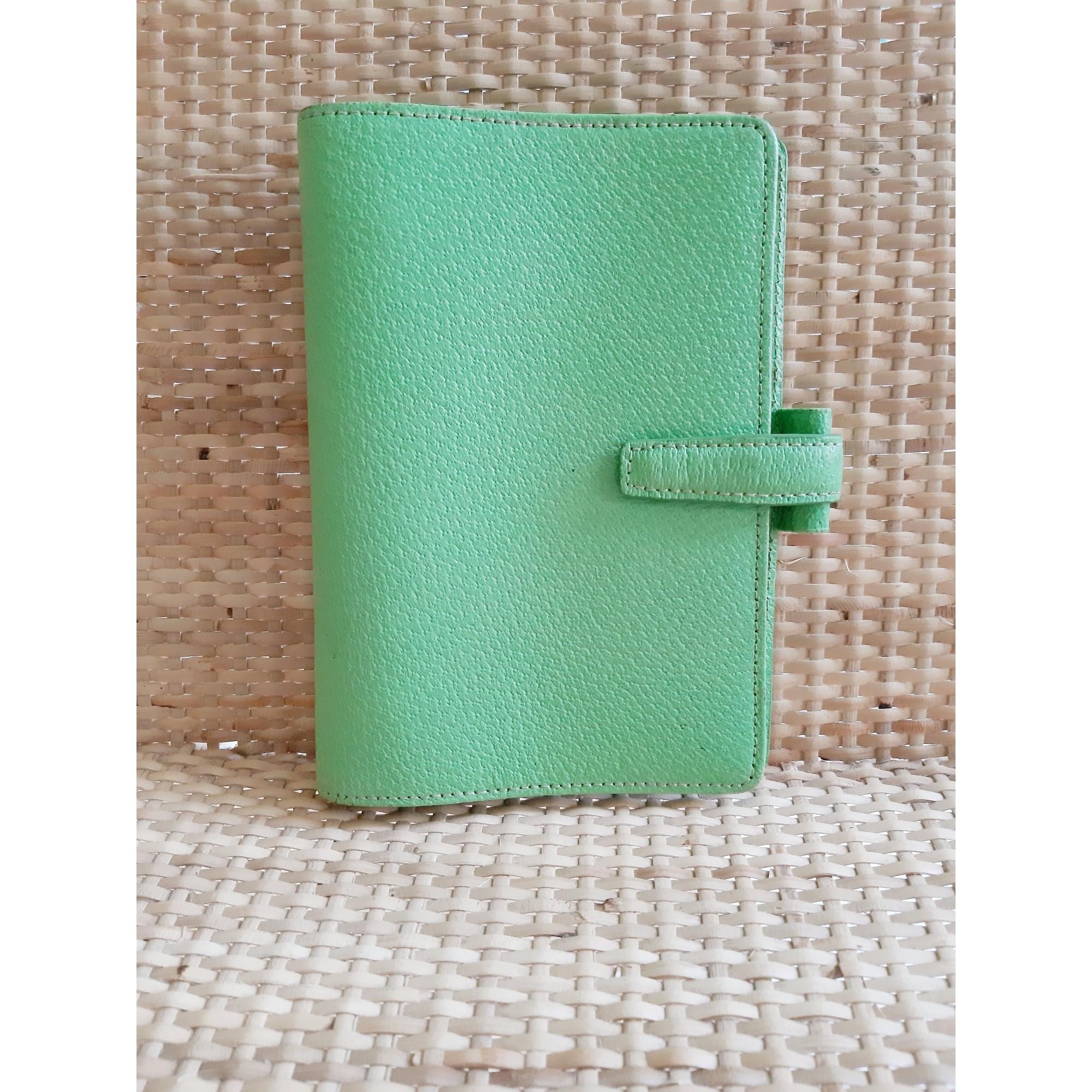 Portefeuille FILOFAX cuir vert