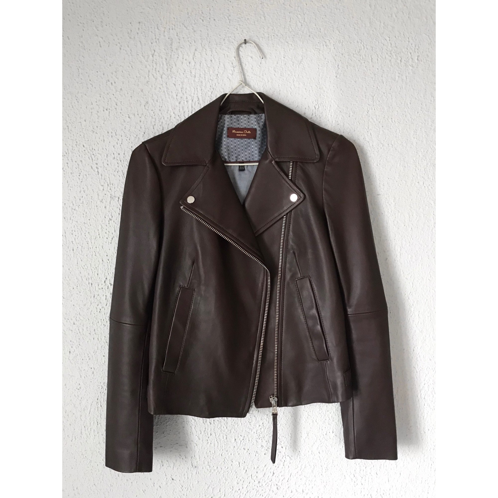 Leather Jacket MASSIMO DUTTI Red, burgundy