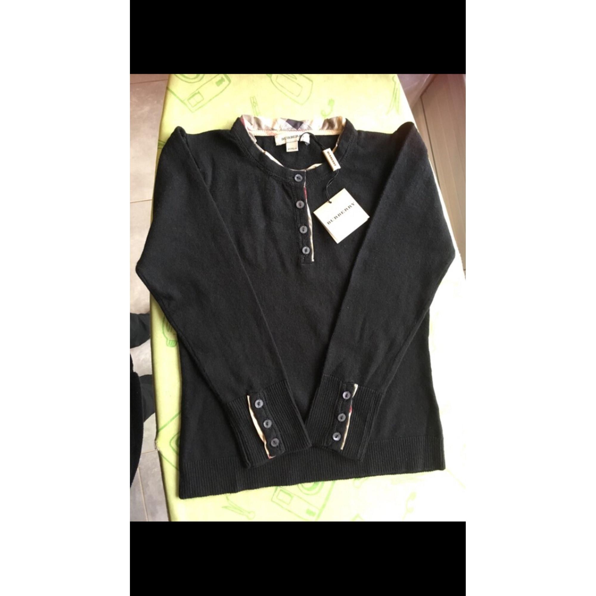 Pull BURBERRY coton, cashmere noir 6 ans