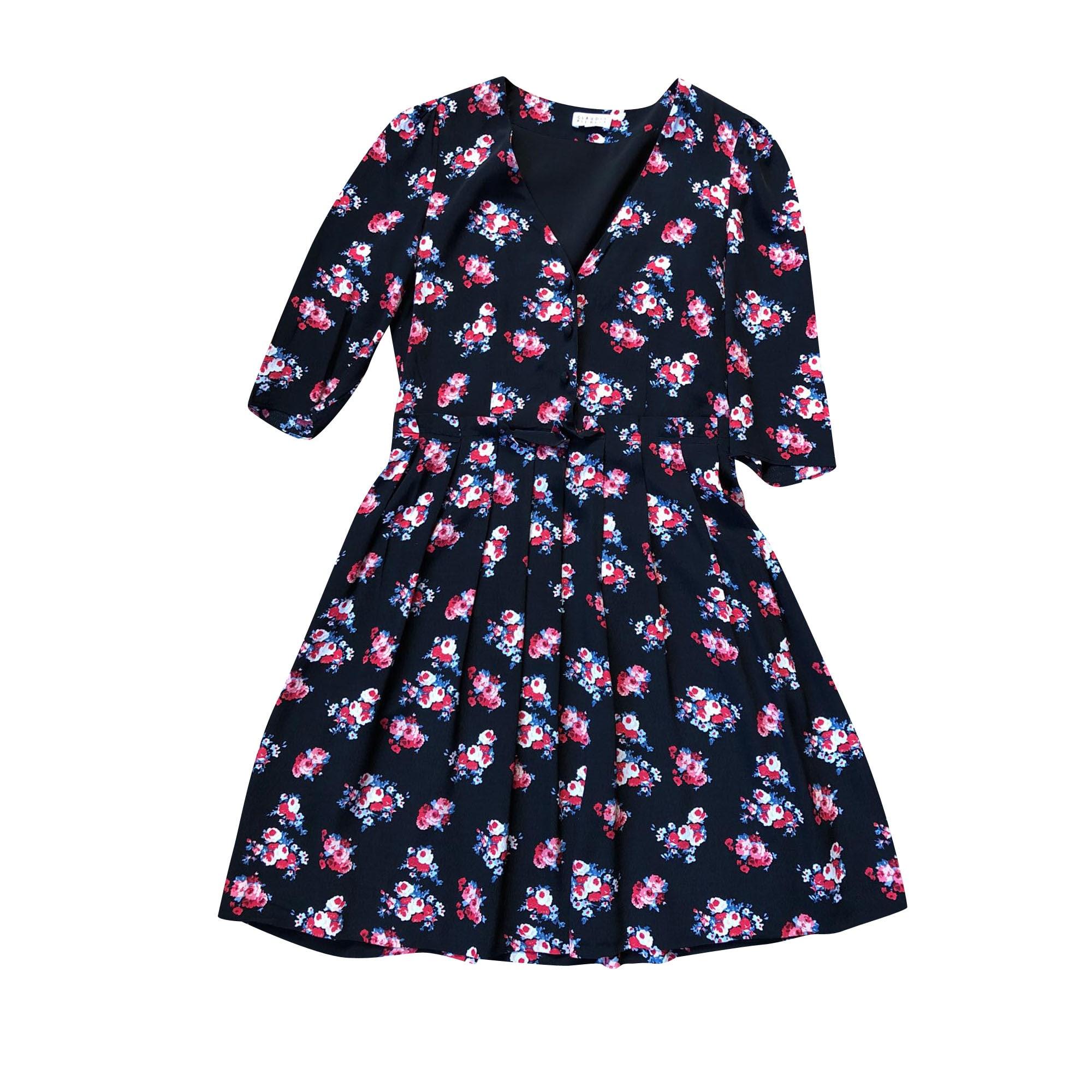 Robe courte CLAUDIE PIERLOT Noir motif fleuri