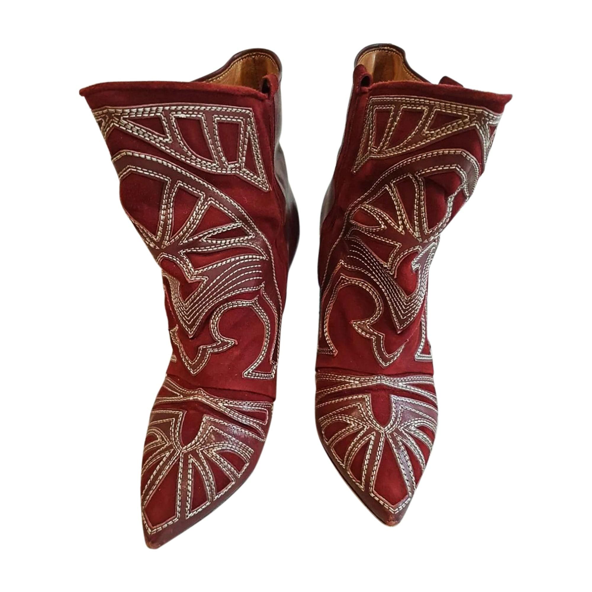 Cowboy Ankle Boots ISABEL MARANT Bordeaux