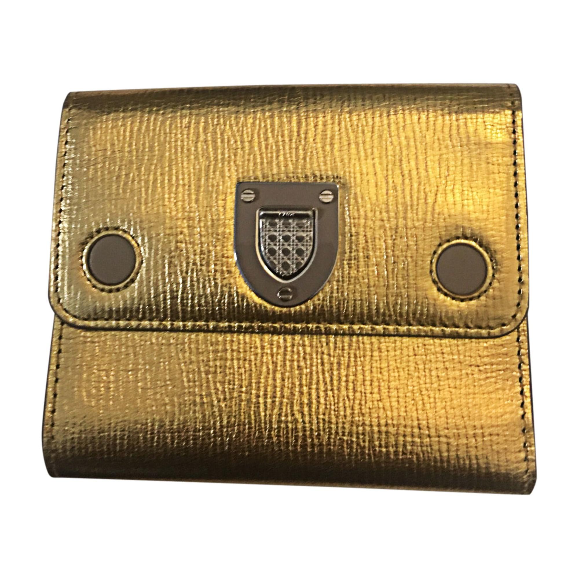 Portefeuille DIOR Doré, bronze, cuivre