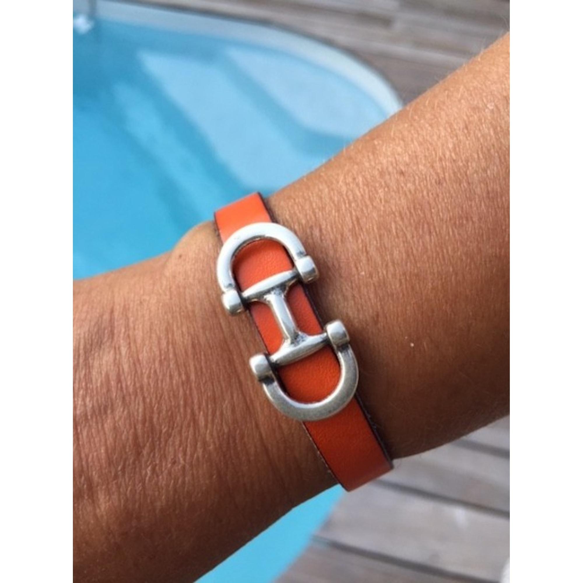 Bracelet CATH&CLO cuir orange