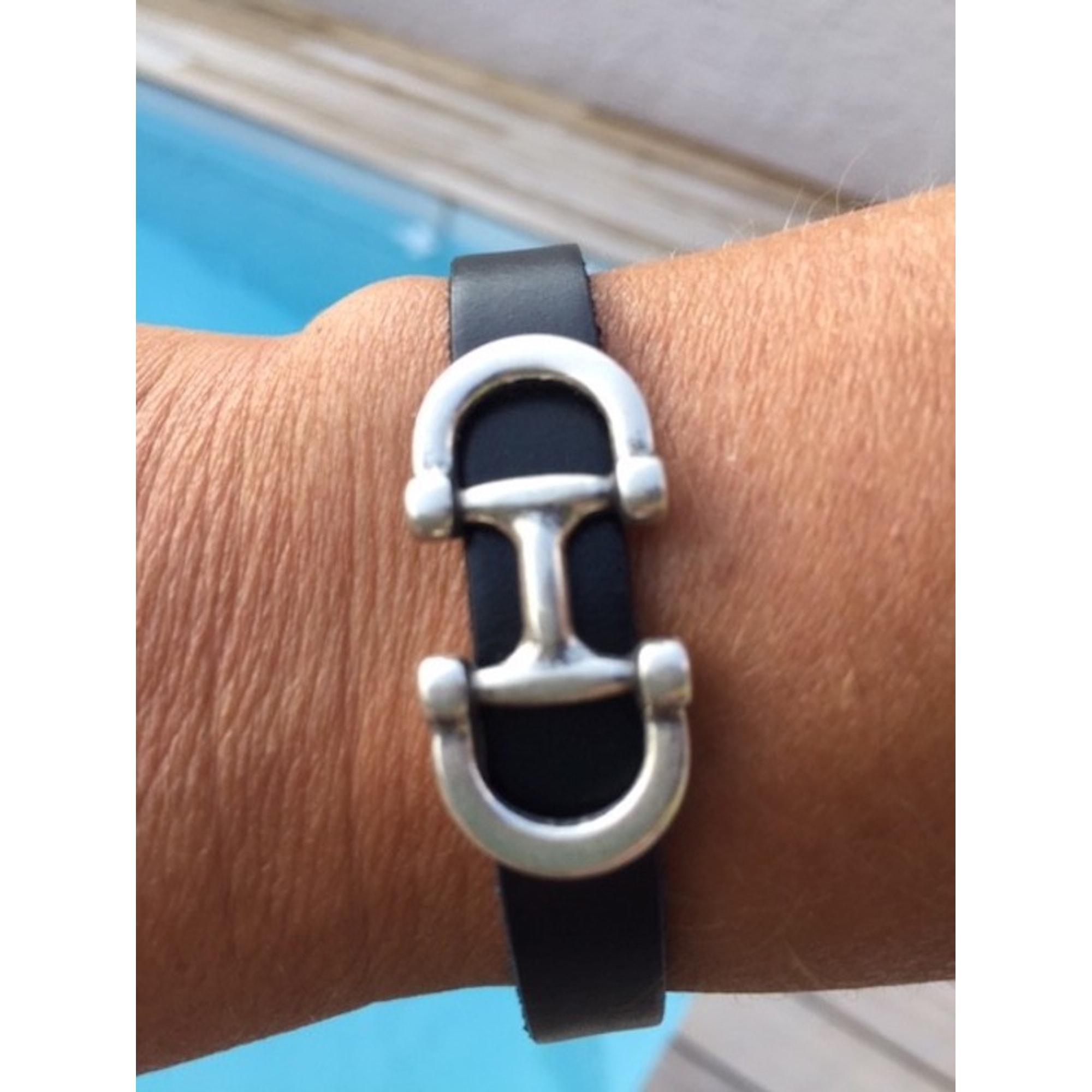 Bracelet CATH&CLO cuir noir