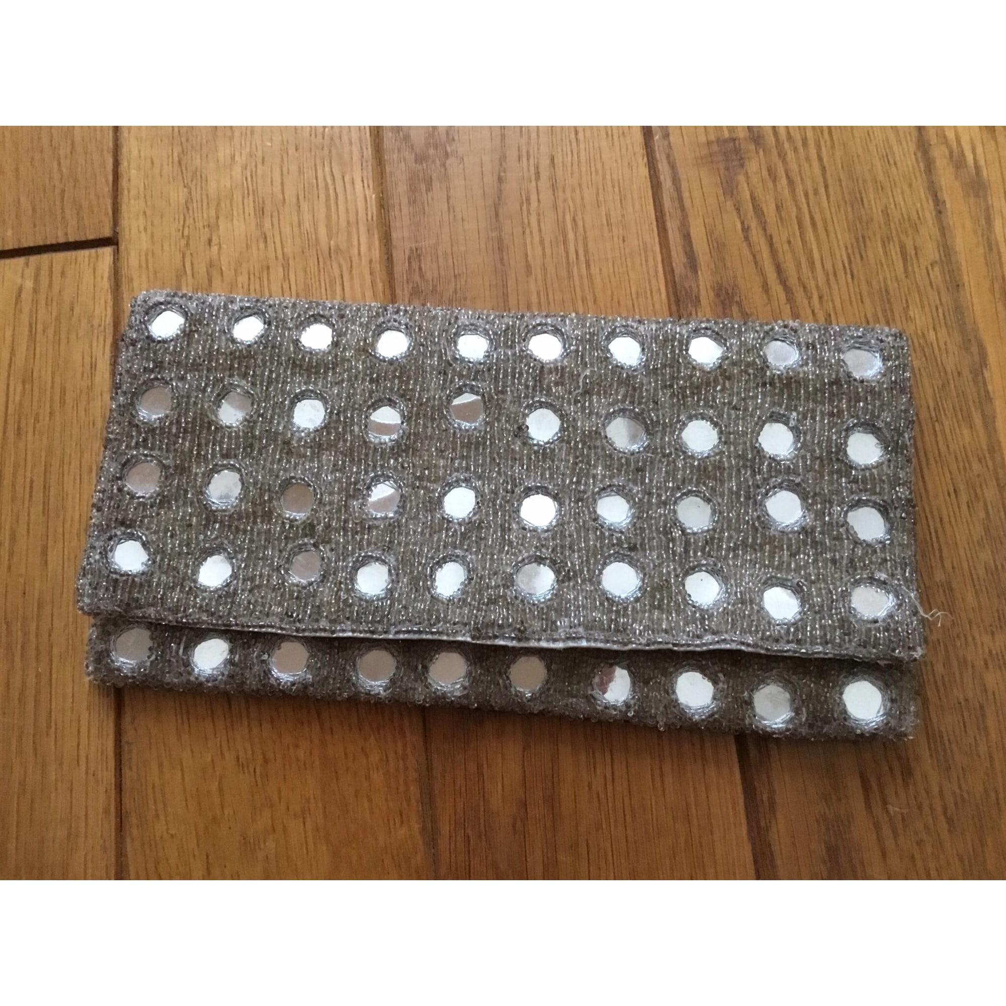 Sac pochette en tissu ACCESSORIZE perles  argent