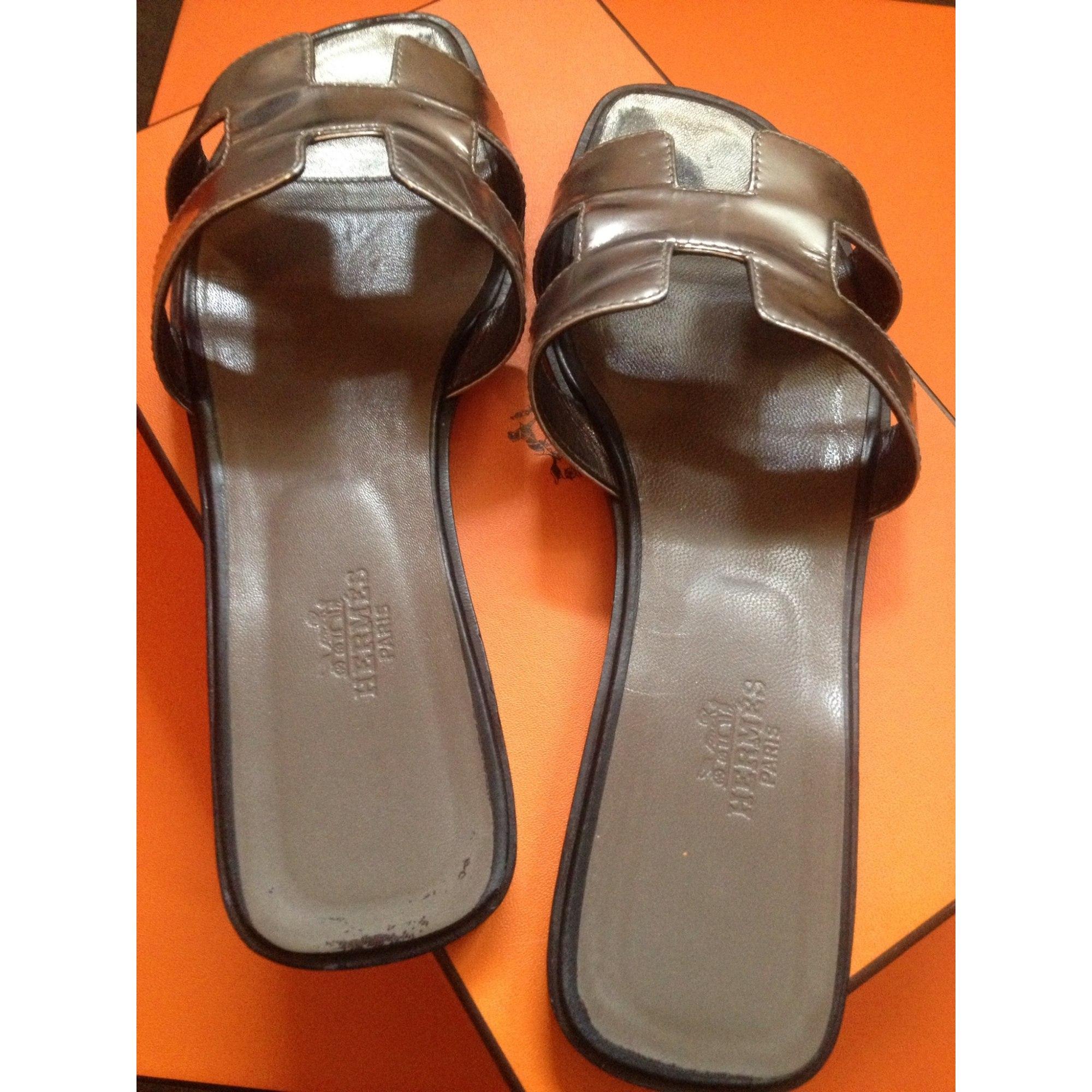 Sandales plates HERMÈS 41 argenté vendu par Jet set - 962736 c4d151400a3
