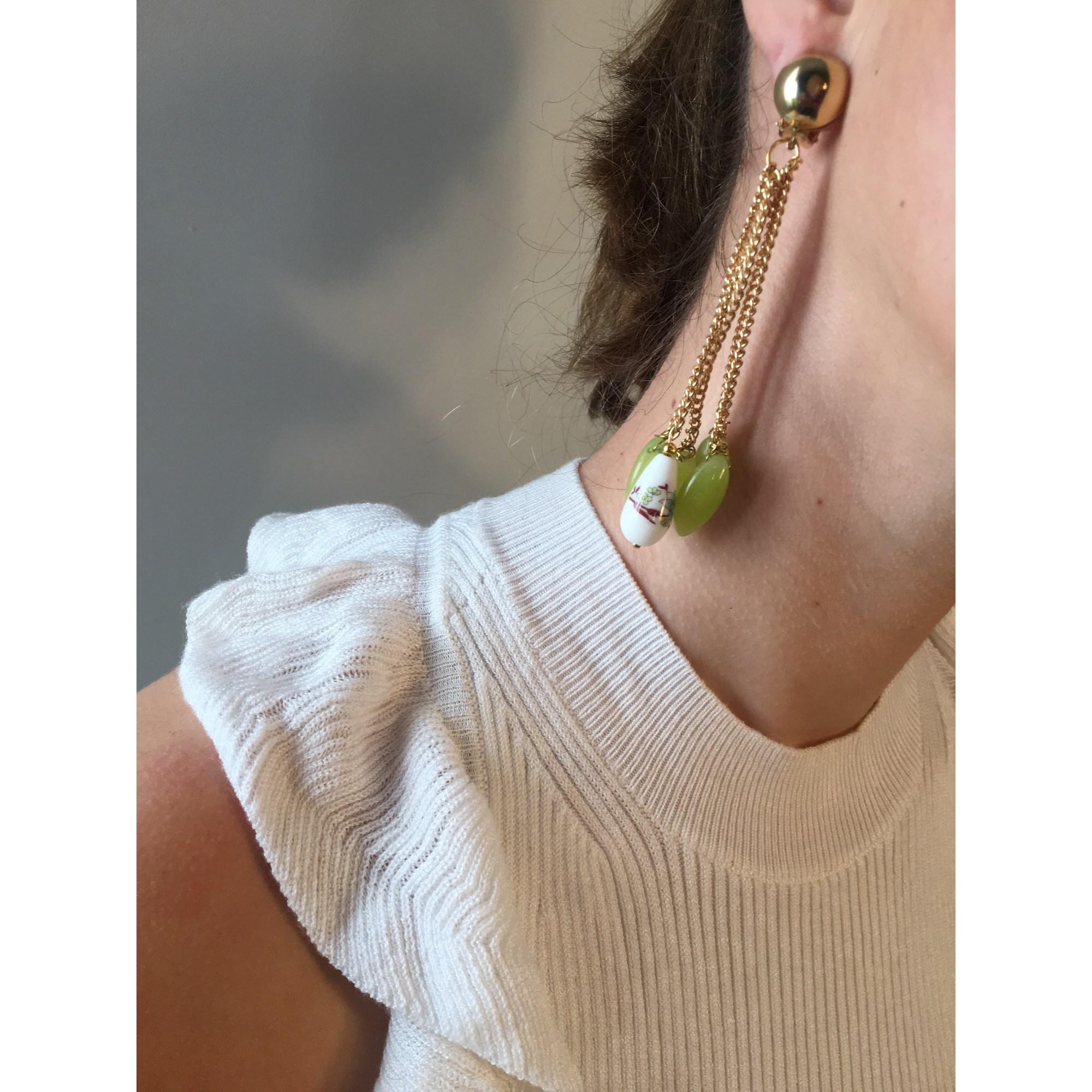 Boucles d'oreille NIKIFARFALLECREATIONS pierres doré