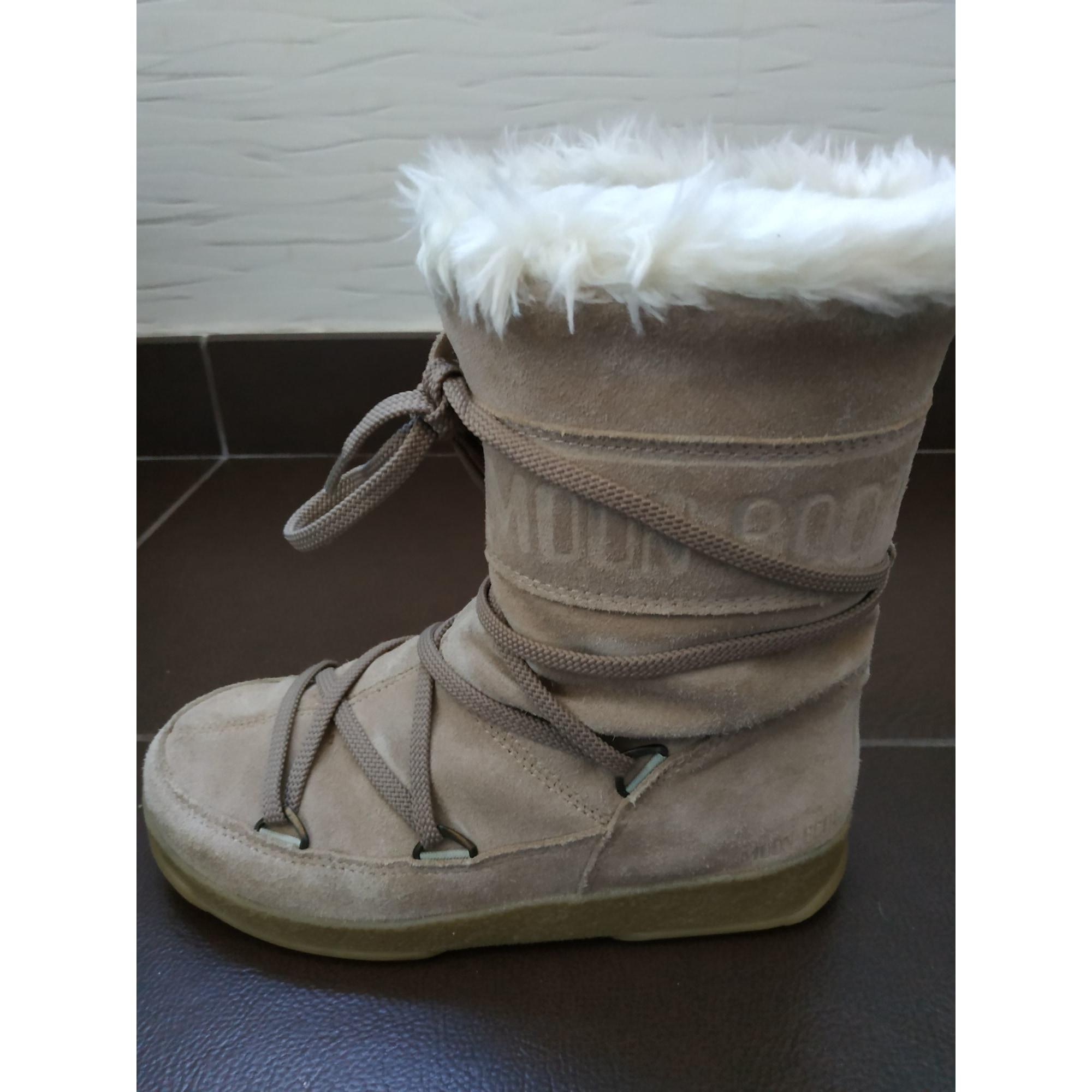 Bottes de neige MOON BOOTS nubuck beige 36