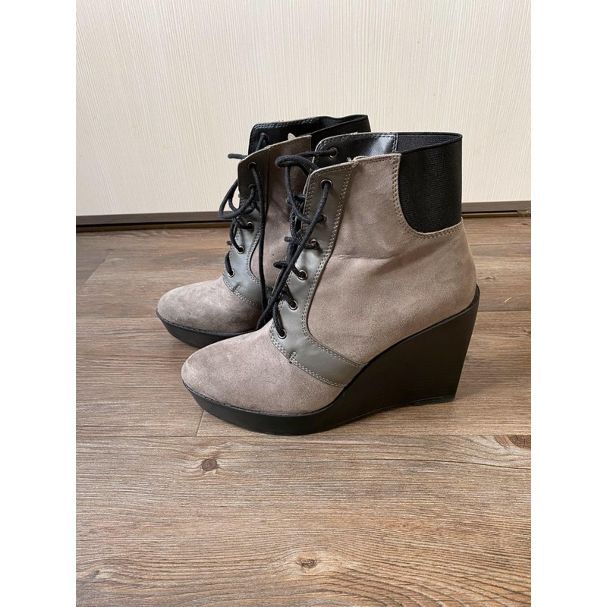 Bottines & low boots à compensés ZARA Gris, anthracite