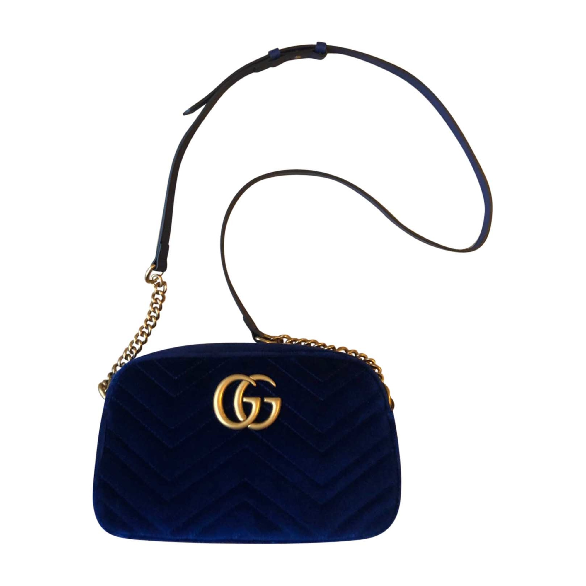 Leather Shoulder Bag GUCCI Marmont Blue, navy, turquoise