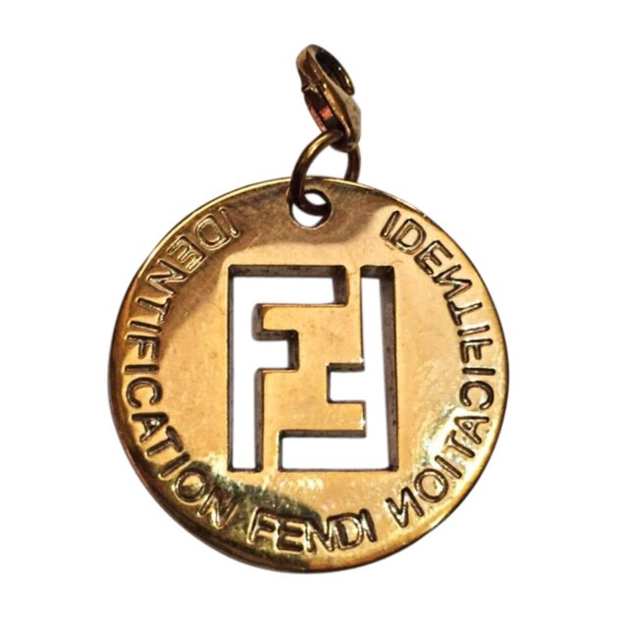 Pendentif, collier pendentif FENDI zircon doré
