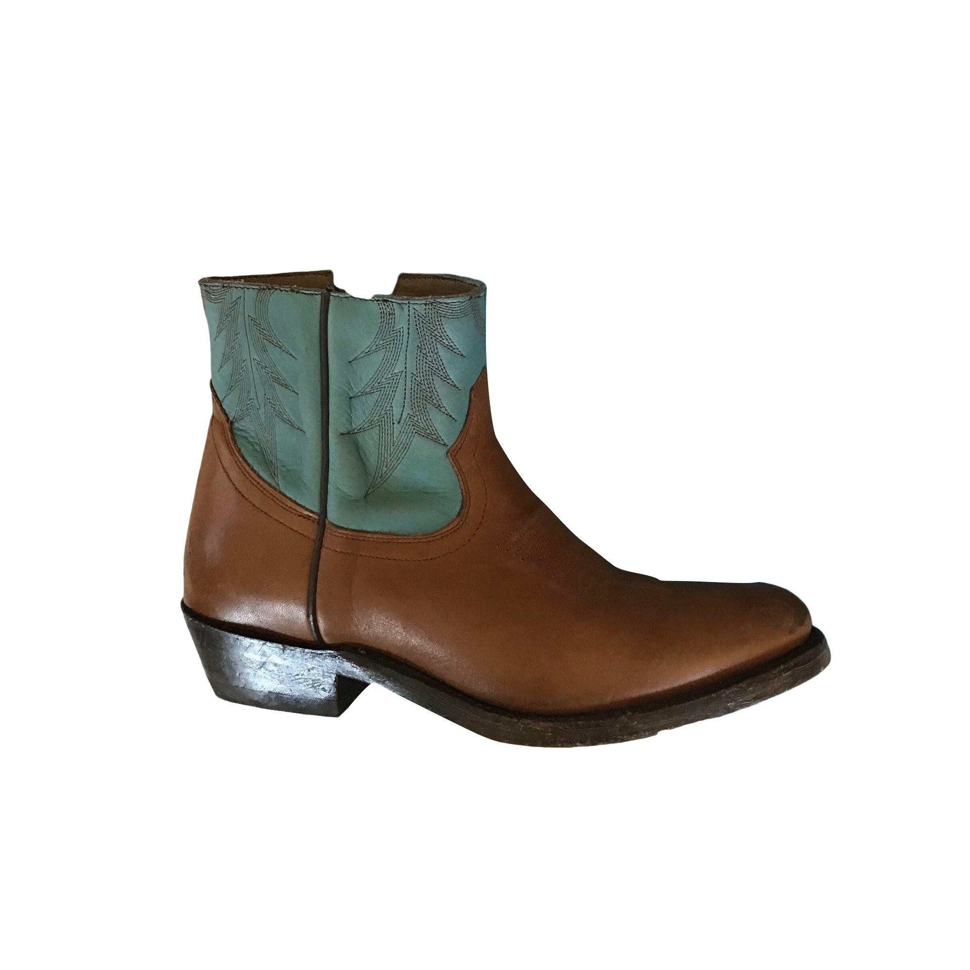 Santiags, bottines, low boots cowboy ASH Marron
