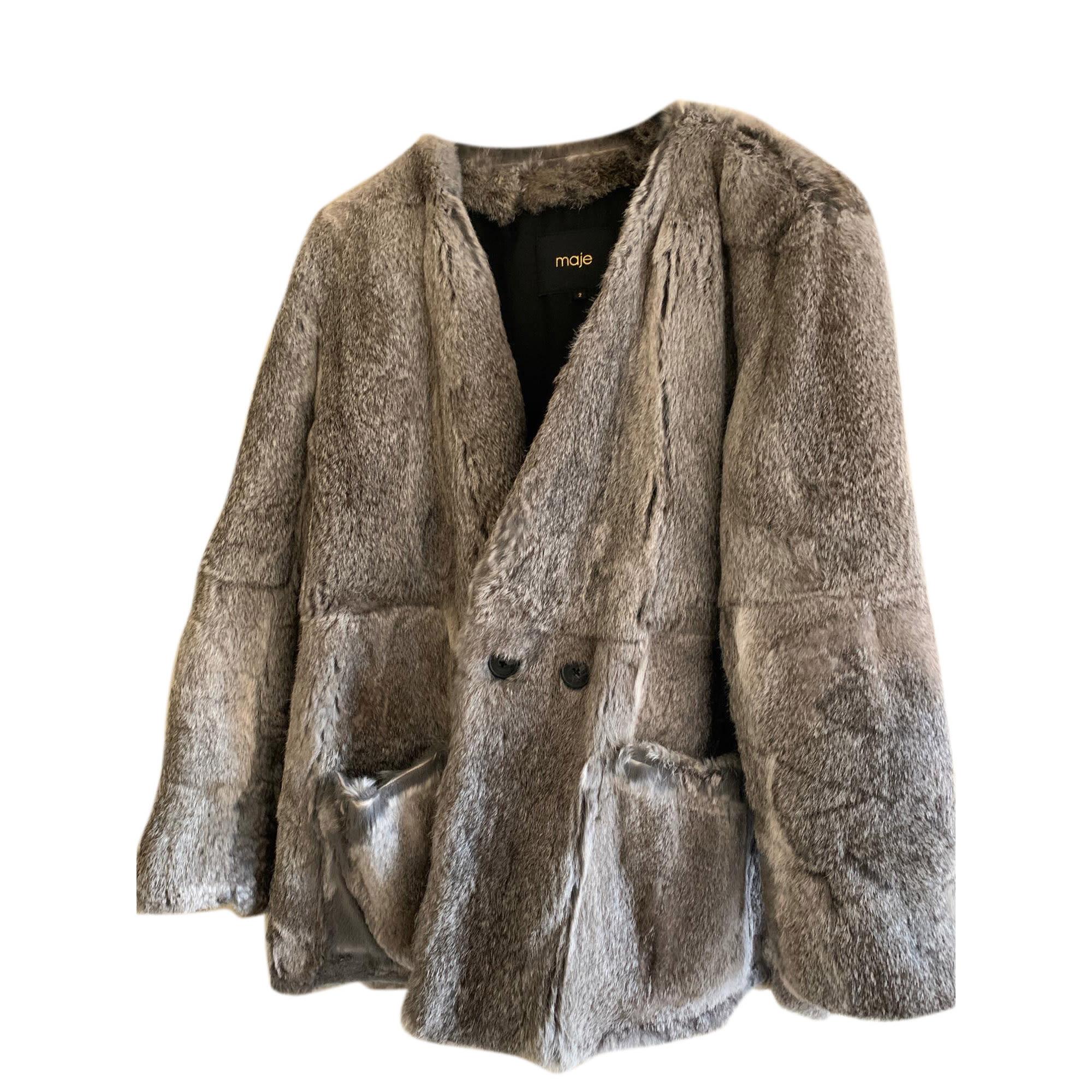 Fur Coat MAJE Gray, charcoal