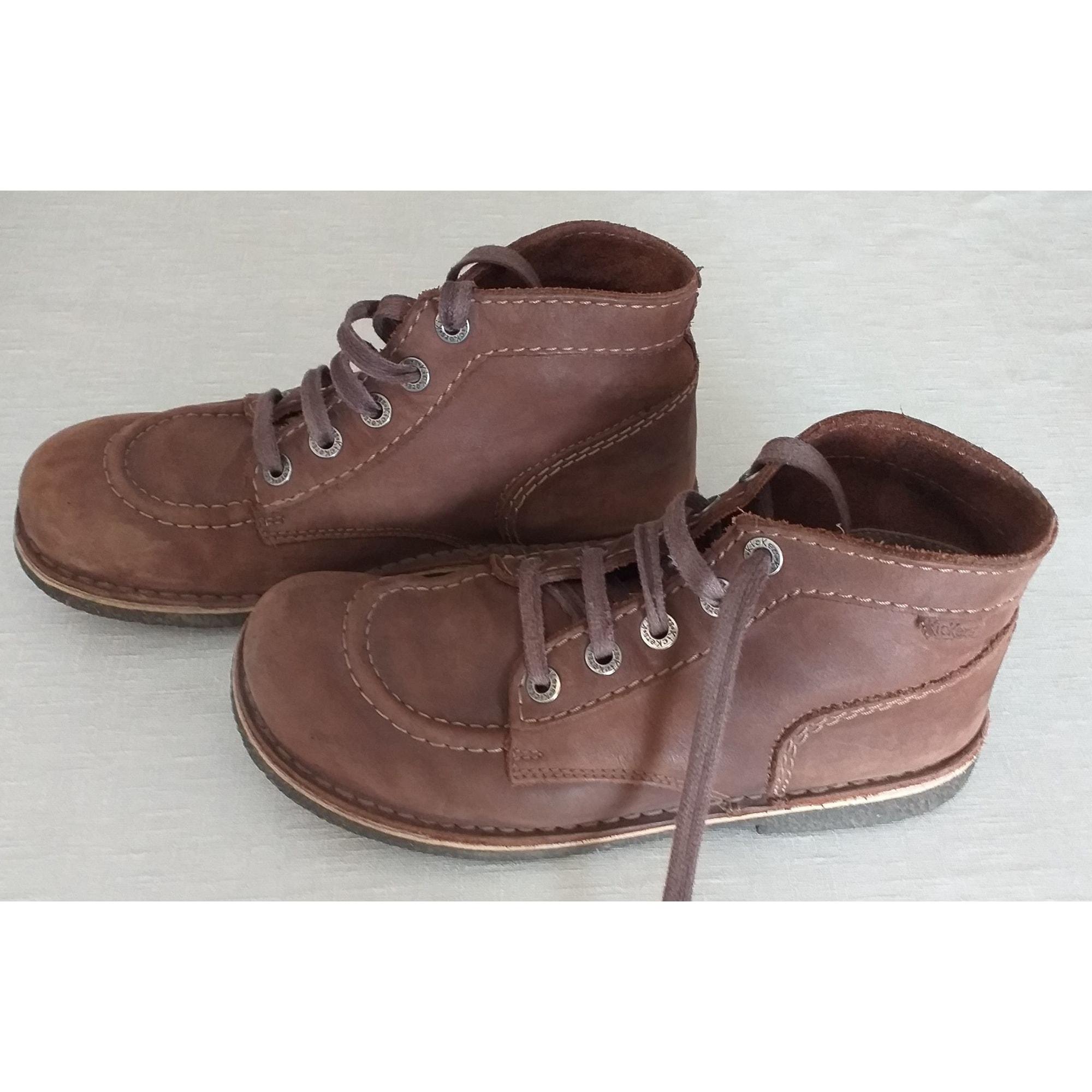Bottines & low boots plates KICKERS Marron