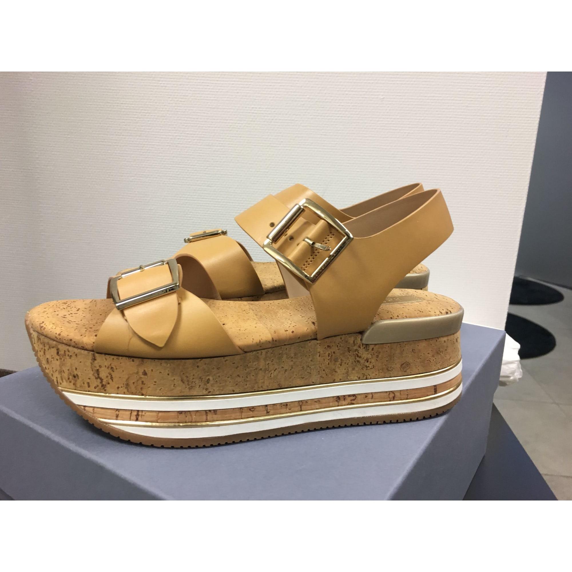 Sandales compensées HOGAN Beige, camel