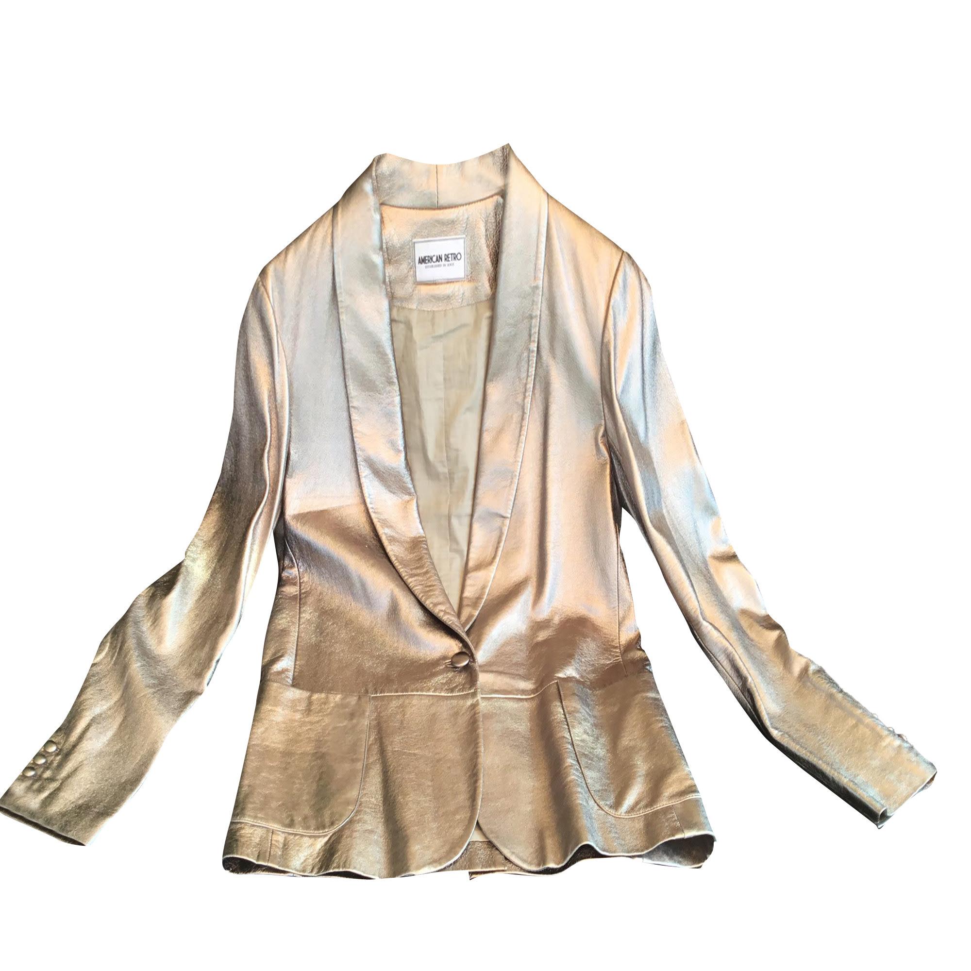 Veste en cuir AMERICAN RETRO Doré, bronze, cuivre