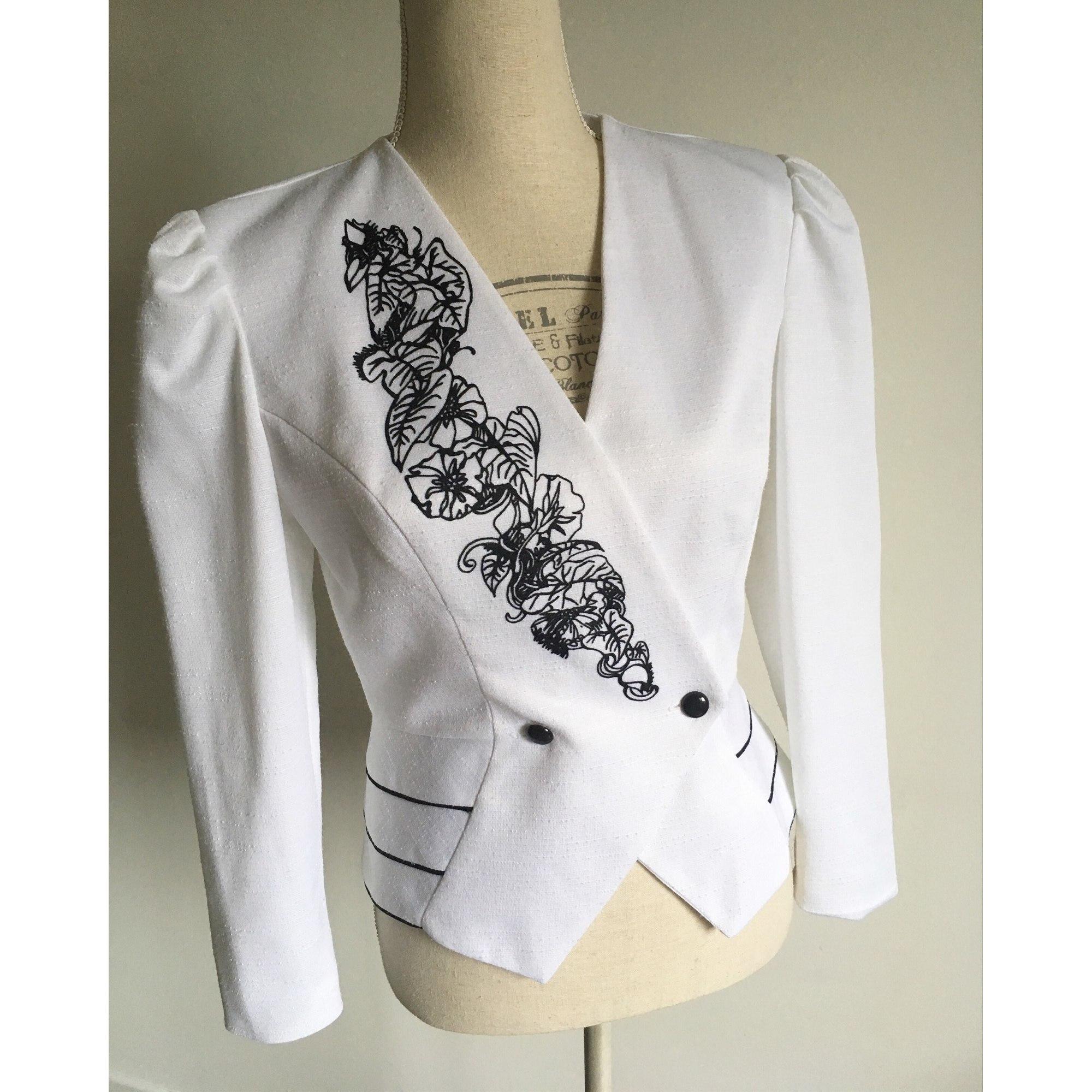 Blazer, veste tailleur VINTAGE Blanc et noir